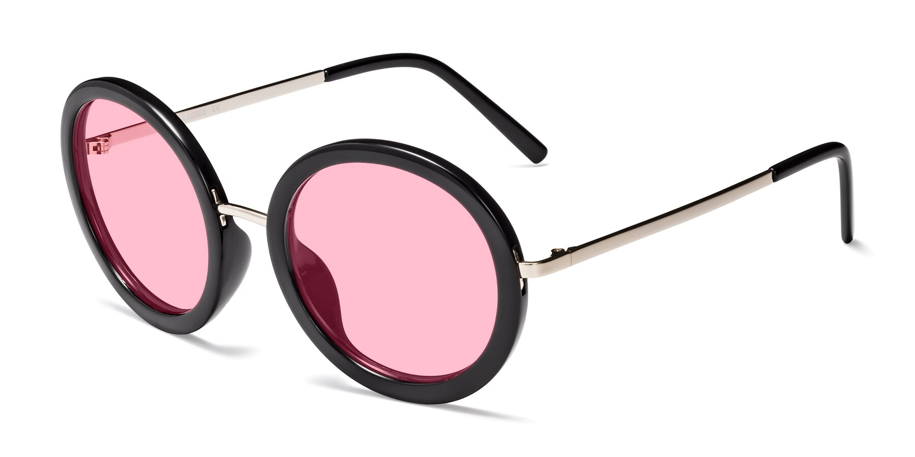 Angle of Bloom in Black with Medium Pink Tinted Lenses