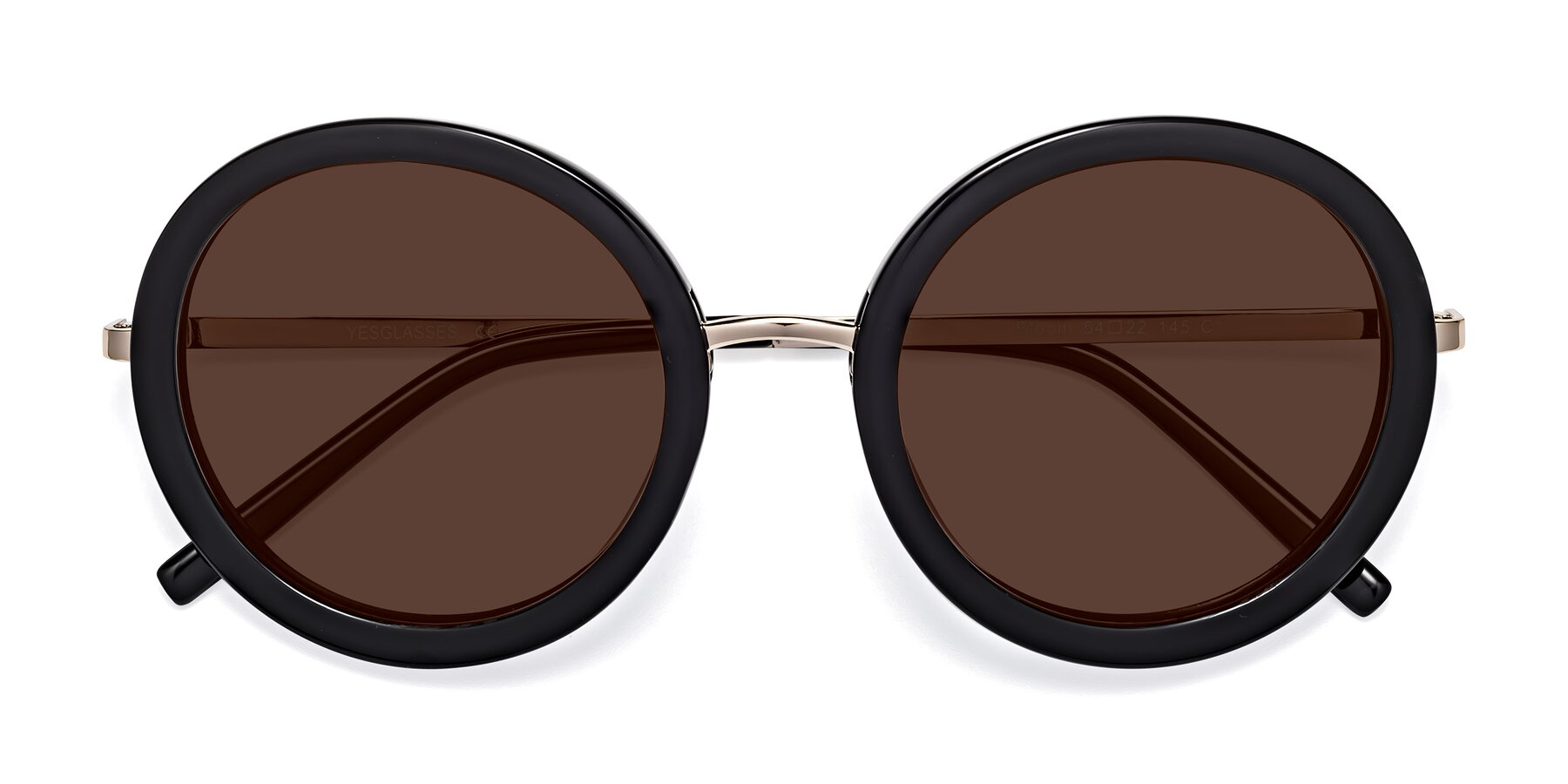 Folded Front of Bloom in Black with Brown Tinted Lenses