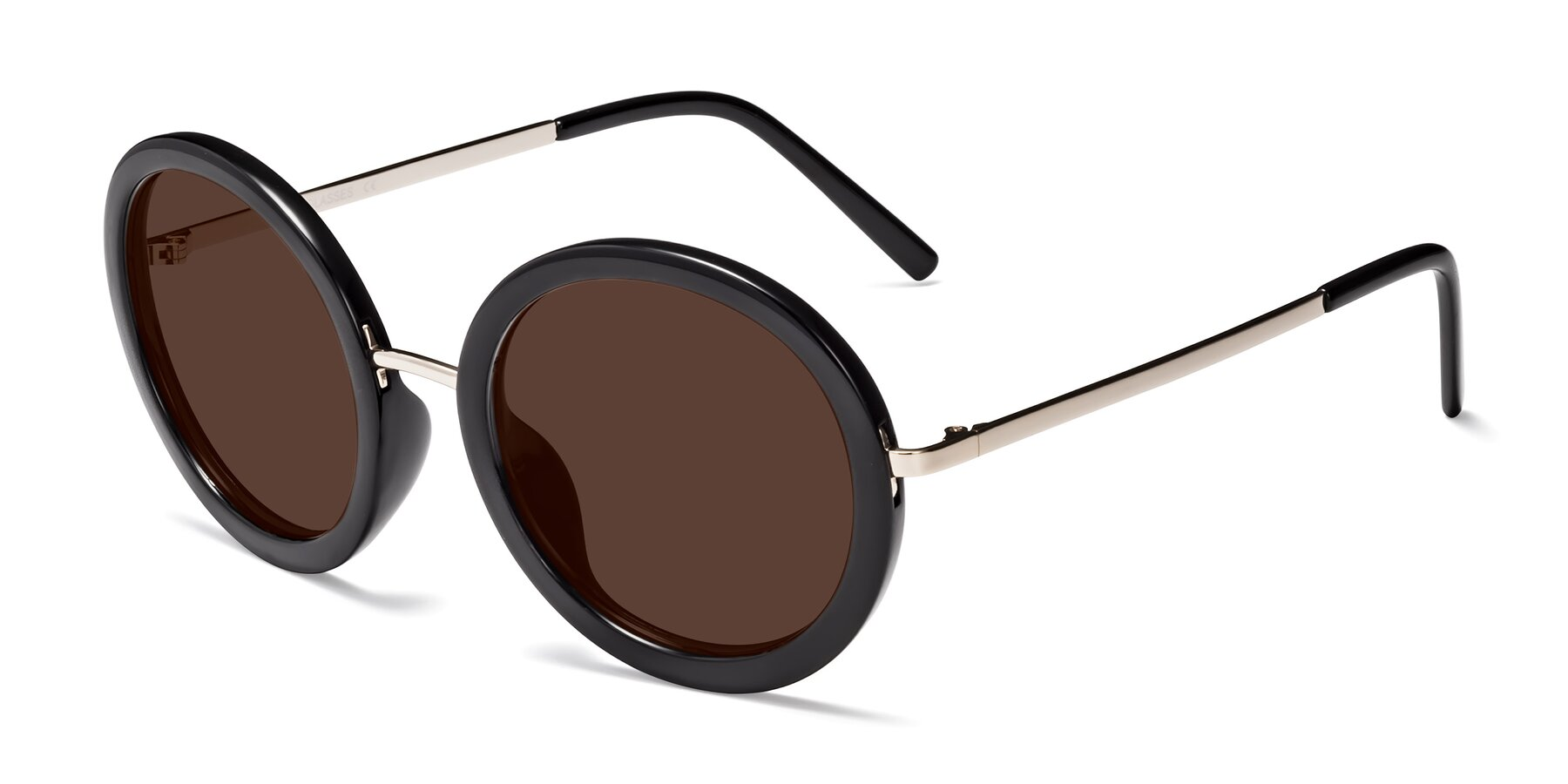 Angle of Bloom in Black with Brown Tinted Lenses