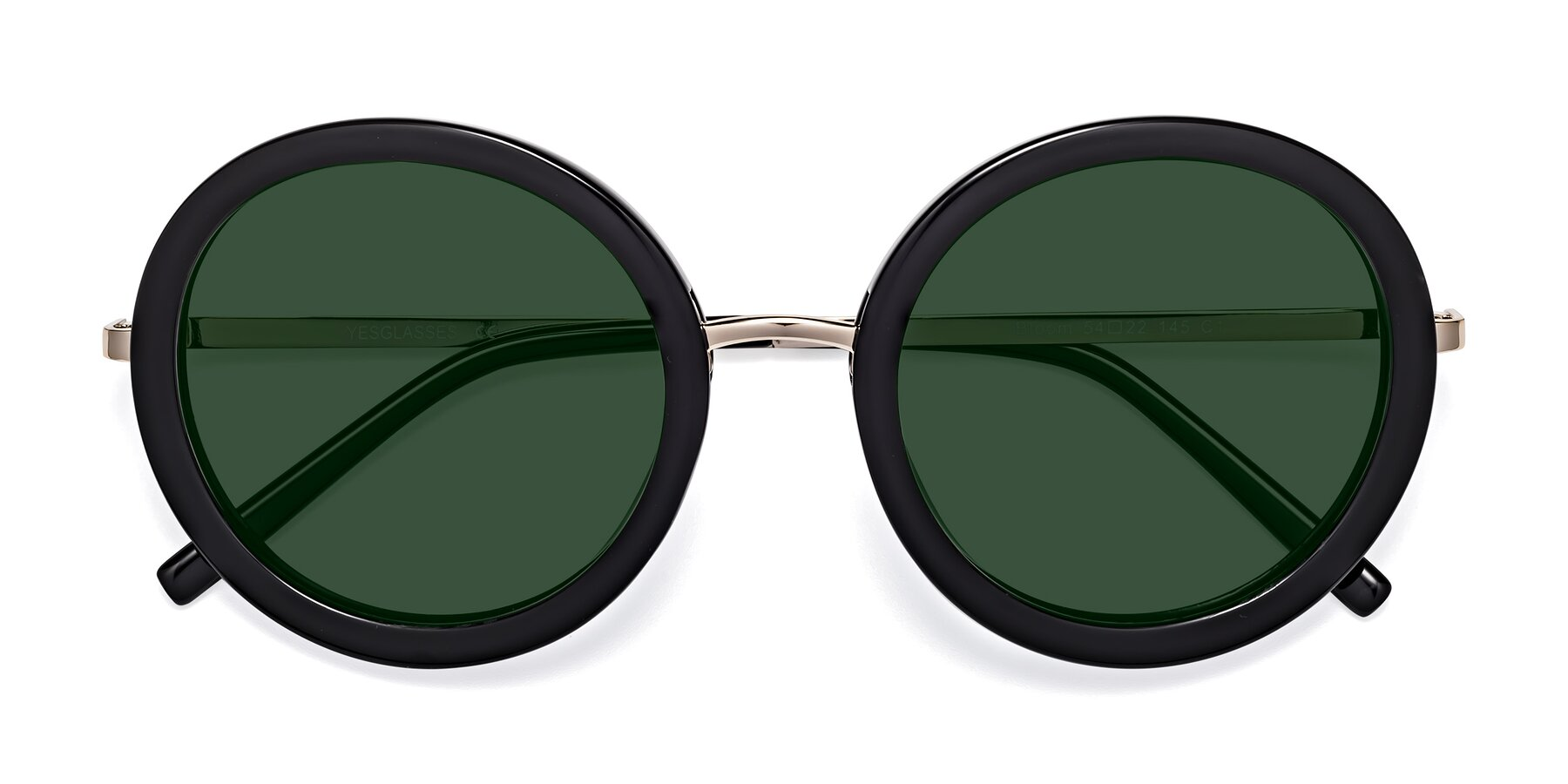 Folded Front of Bloom in Black with Green Tinted Lenses
