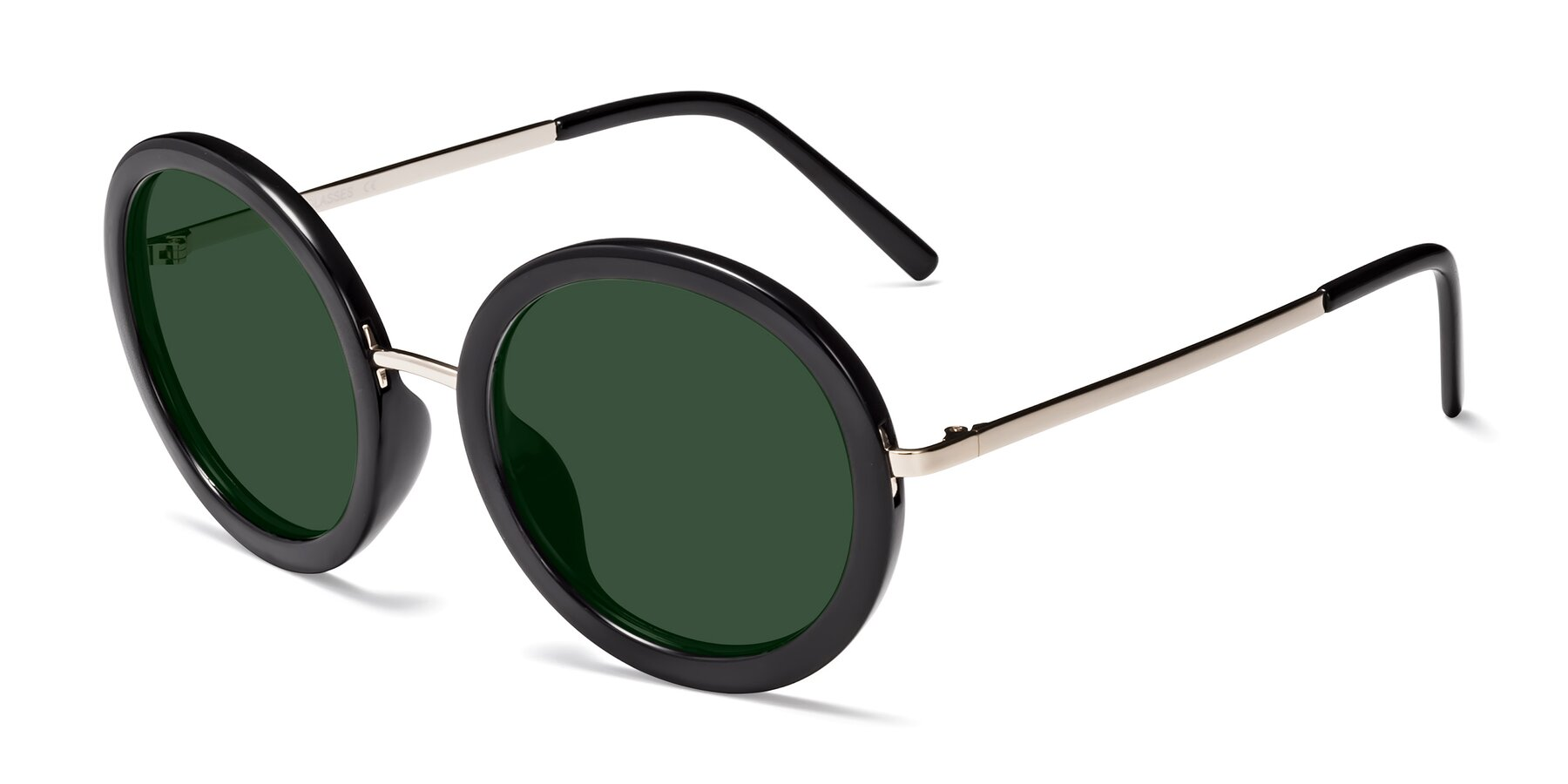 Angle of Bloom in Black with Green Tinted Lenses
