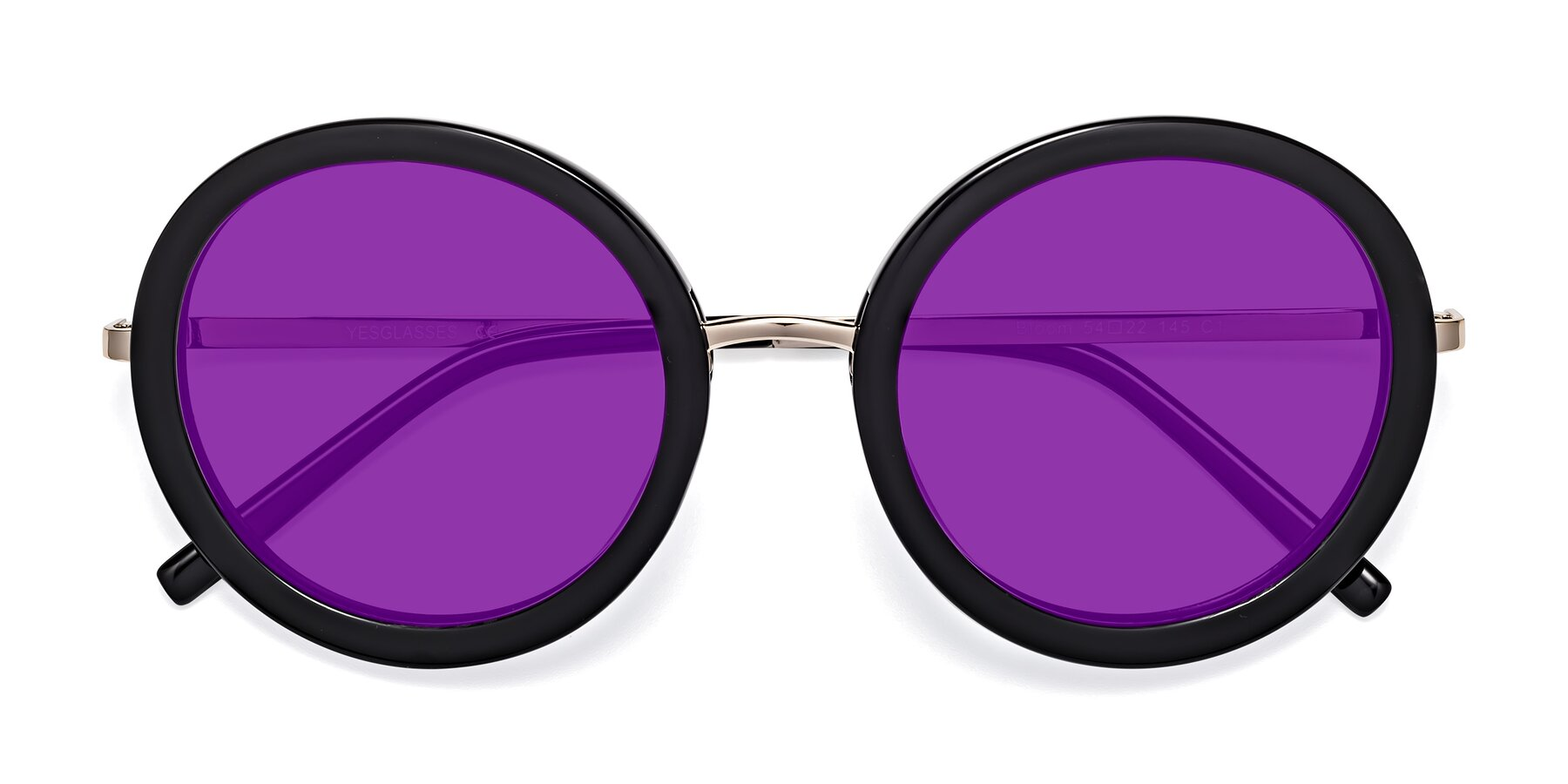 Folded Front of Bloom in Black with Purple Tinted Lenses