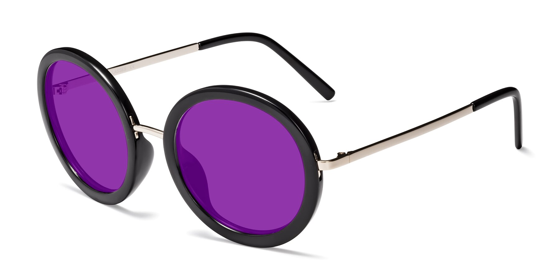 Angle of Bloom in Black with Purple Tinted Lenses