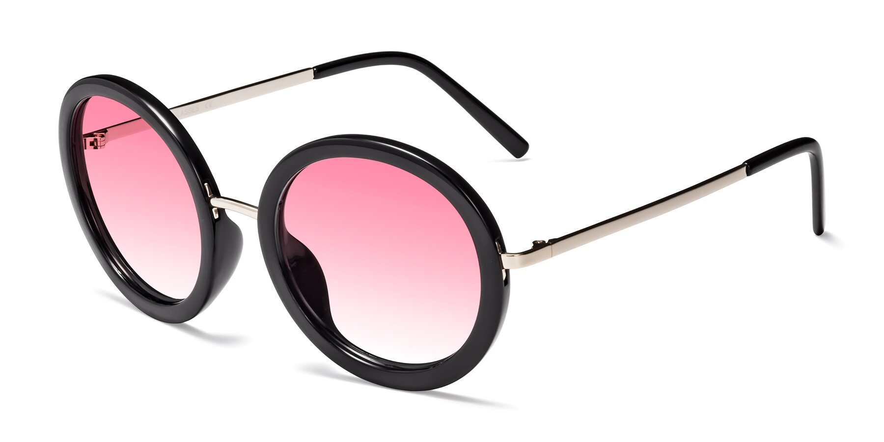 Angle of Bloom in Black with Pink Gradient Lenses