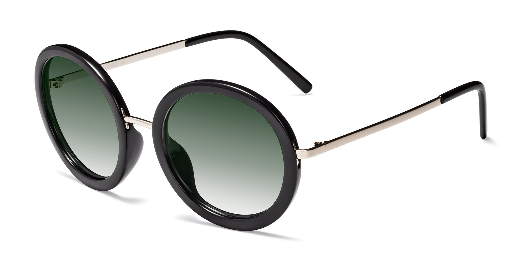 Angle of Bloom in Black with Green Gradient Lenses