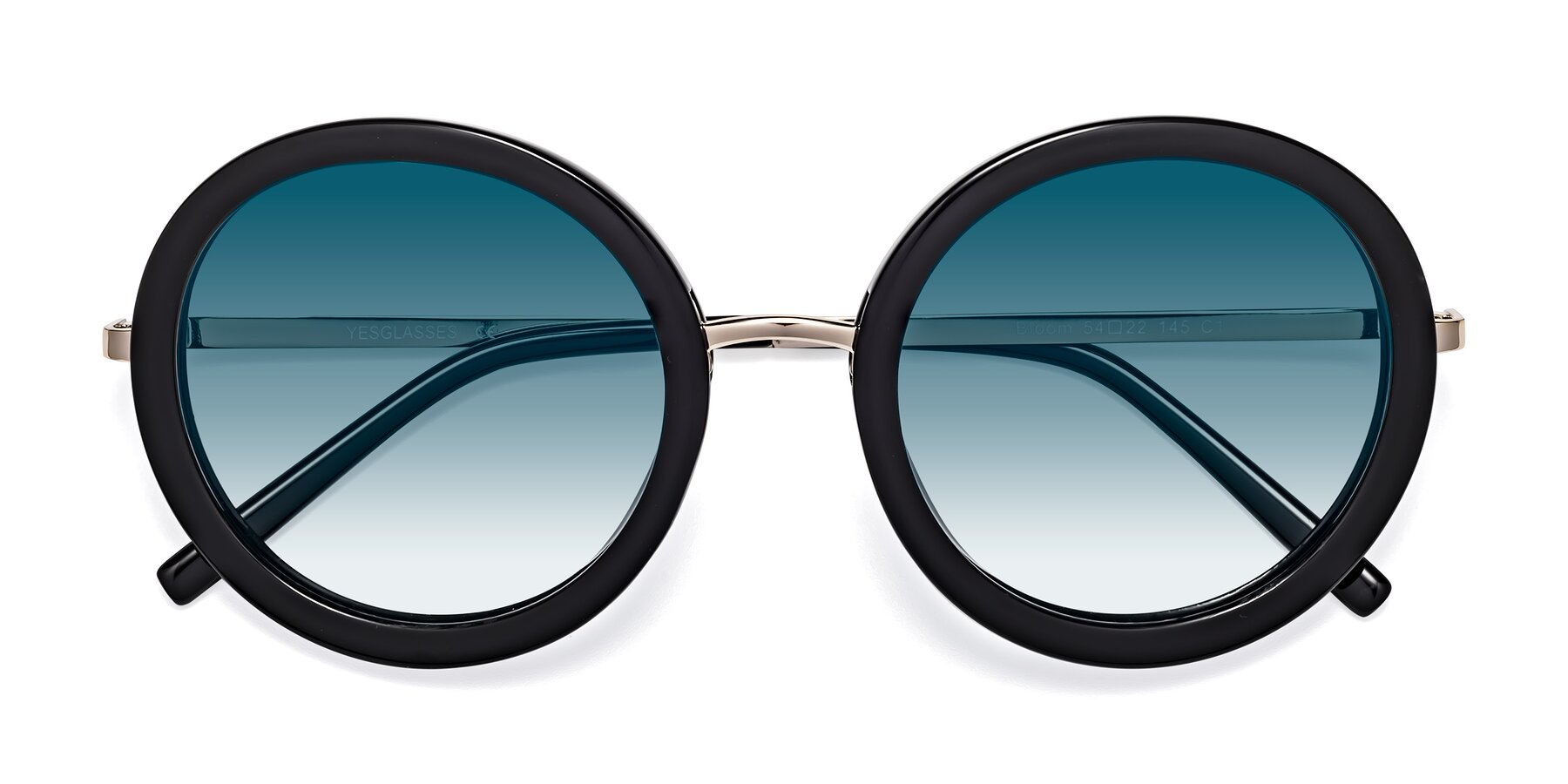 Folded Front of Bloom in Black with Blue Gradient Lenses