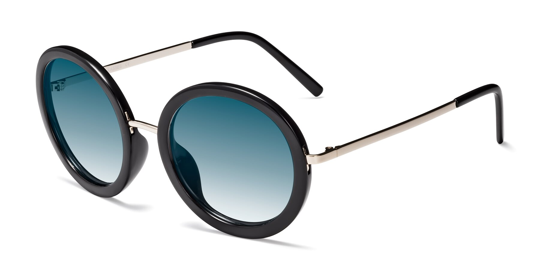 Angle of Bloom in Black with Blue Gradient Lenses