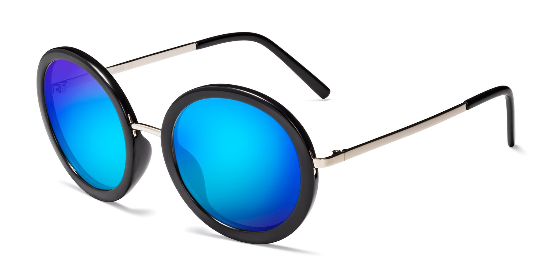 Angle of Bloom in Black with Blue Mirrored Lenses