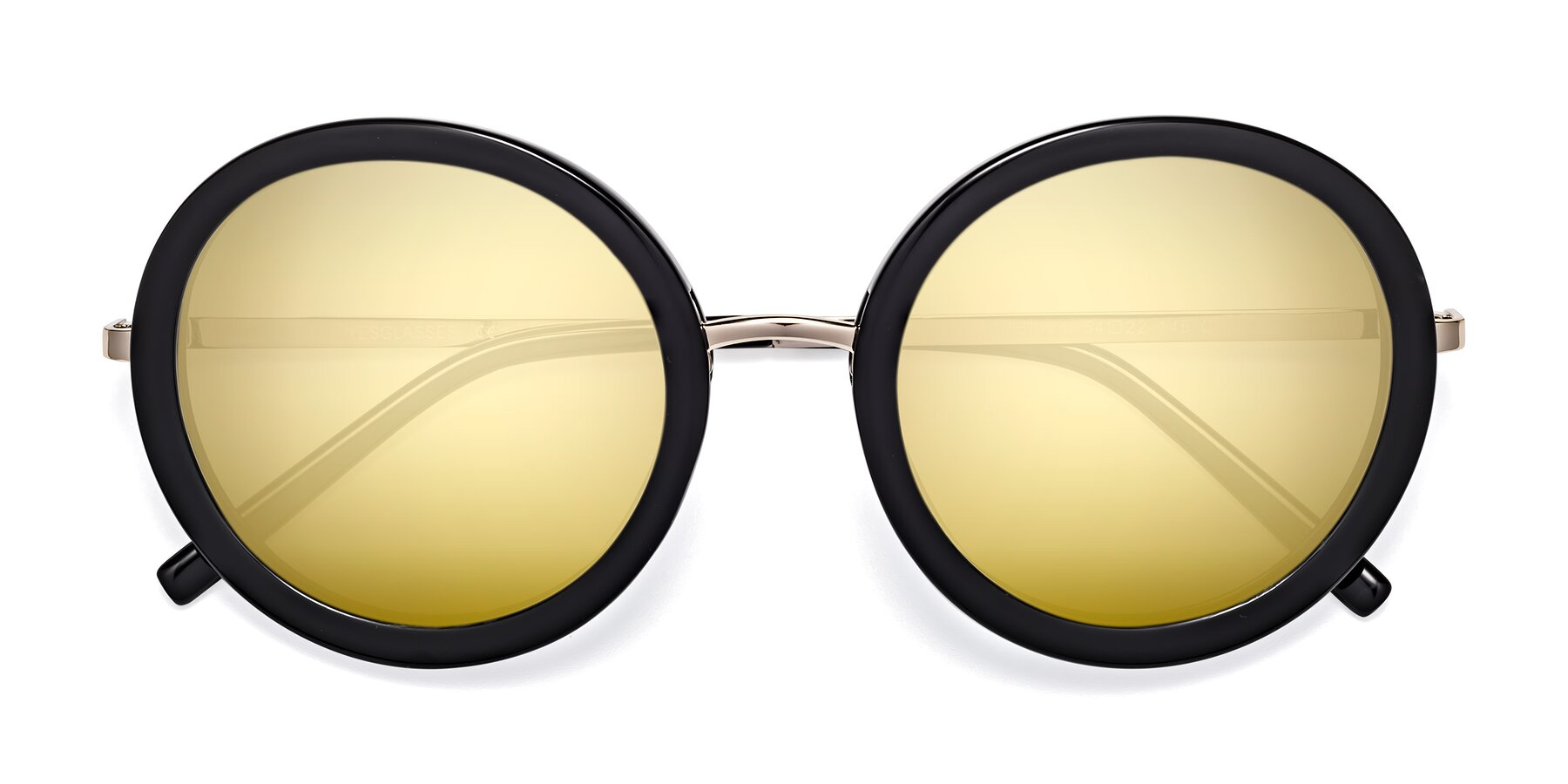 Folded Front of Bloom in Black with Gold Mirrored Lenses
