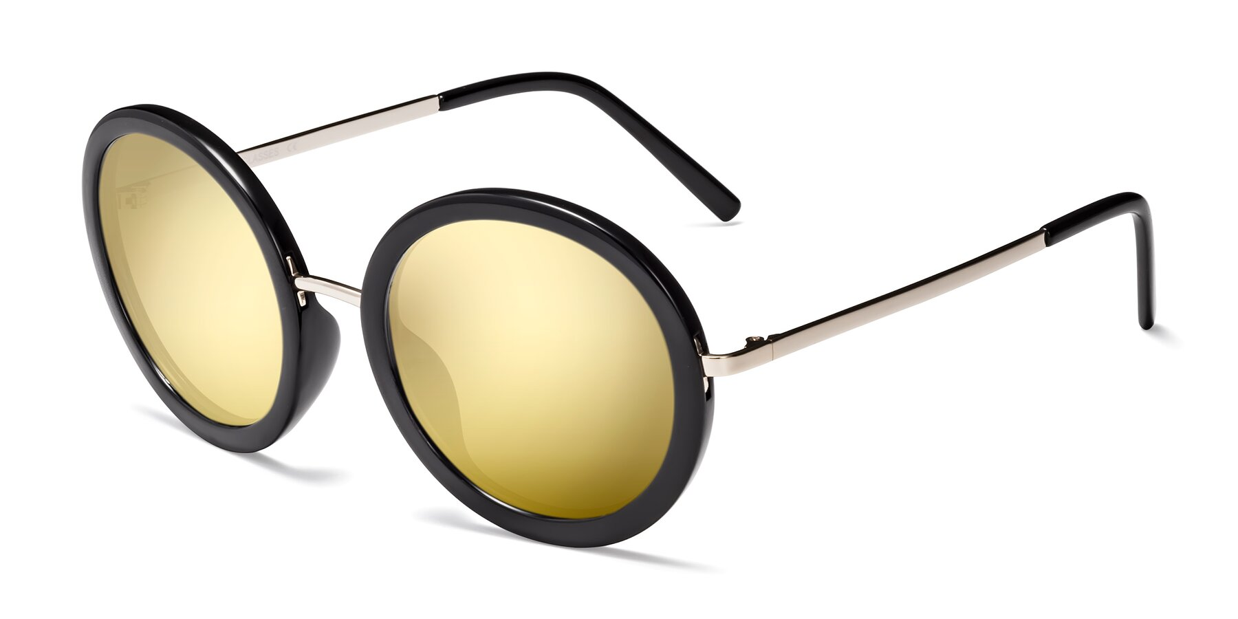 Angle of Bloom in Black with Gold Mirrored Lenses