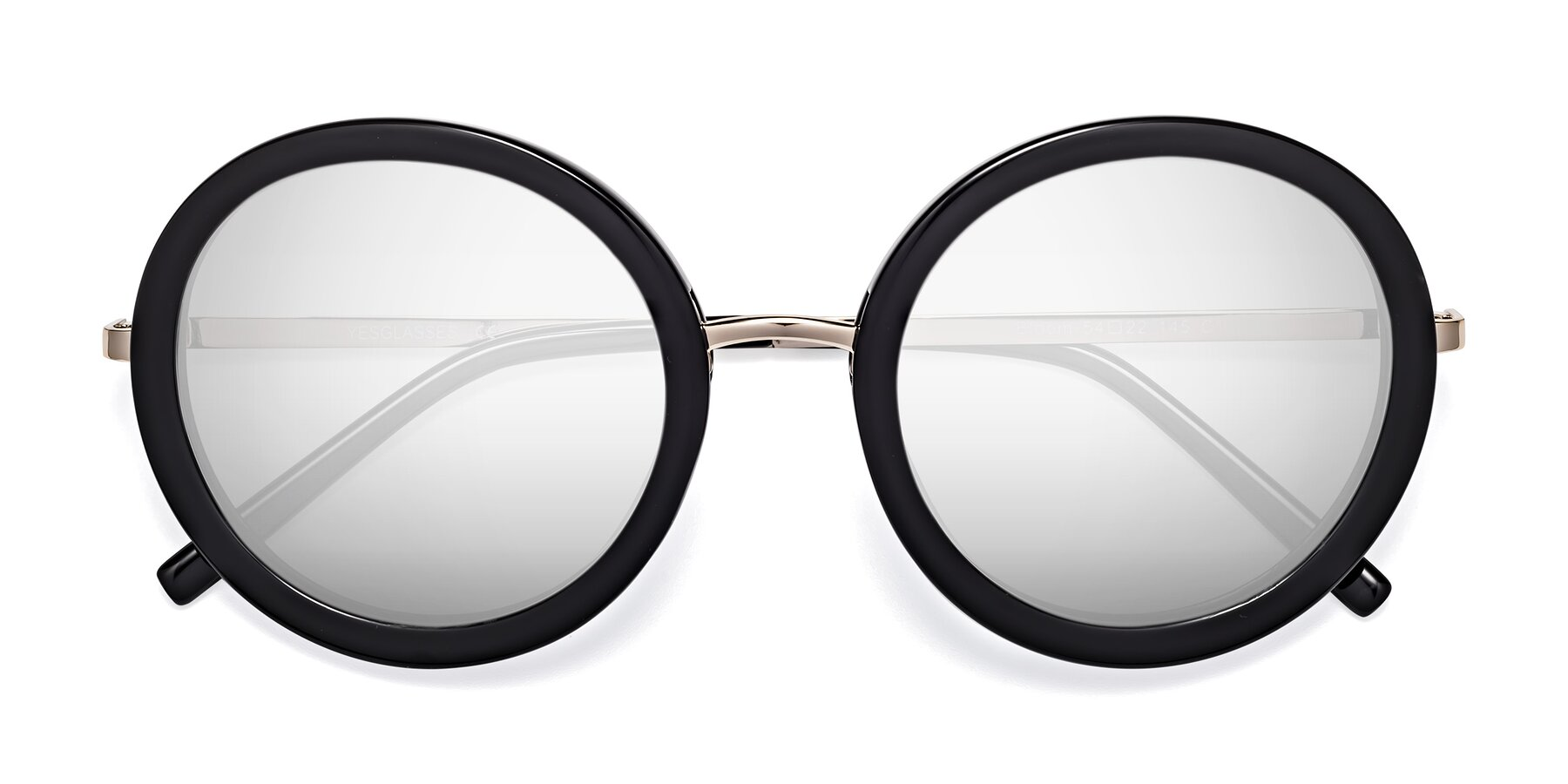 Folded Front of Bloom in Black with Silver Mirrored Lenses