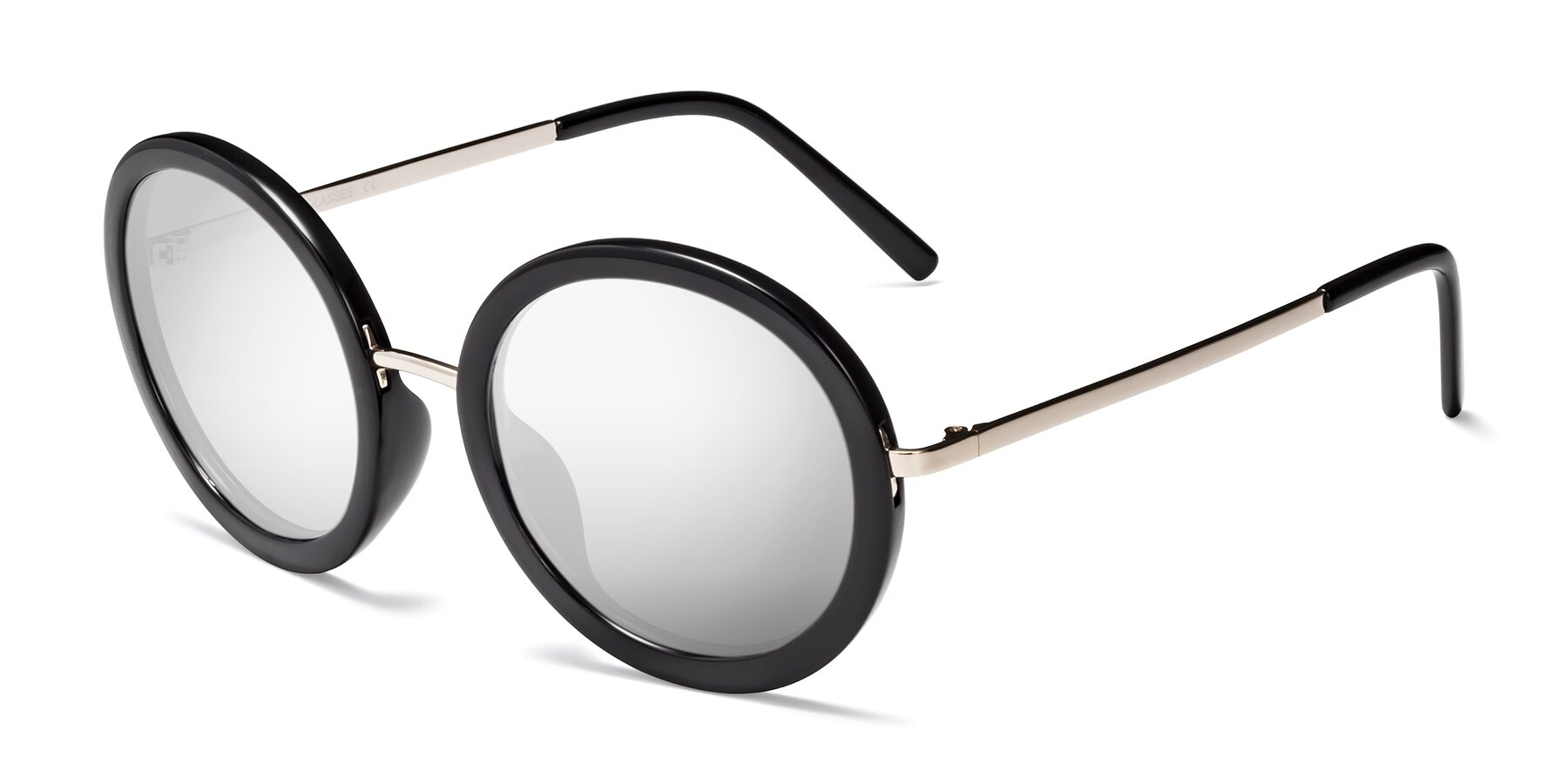 Angle of Bloom in Black with Silver Mirrored Lenses