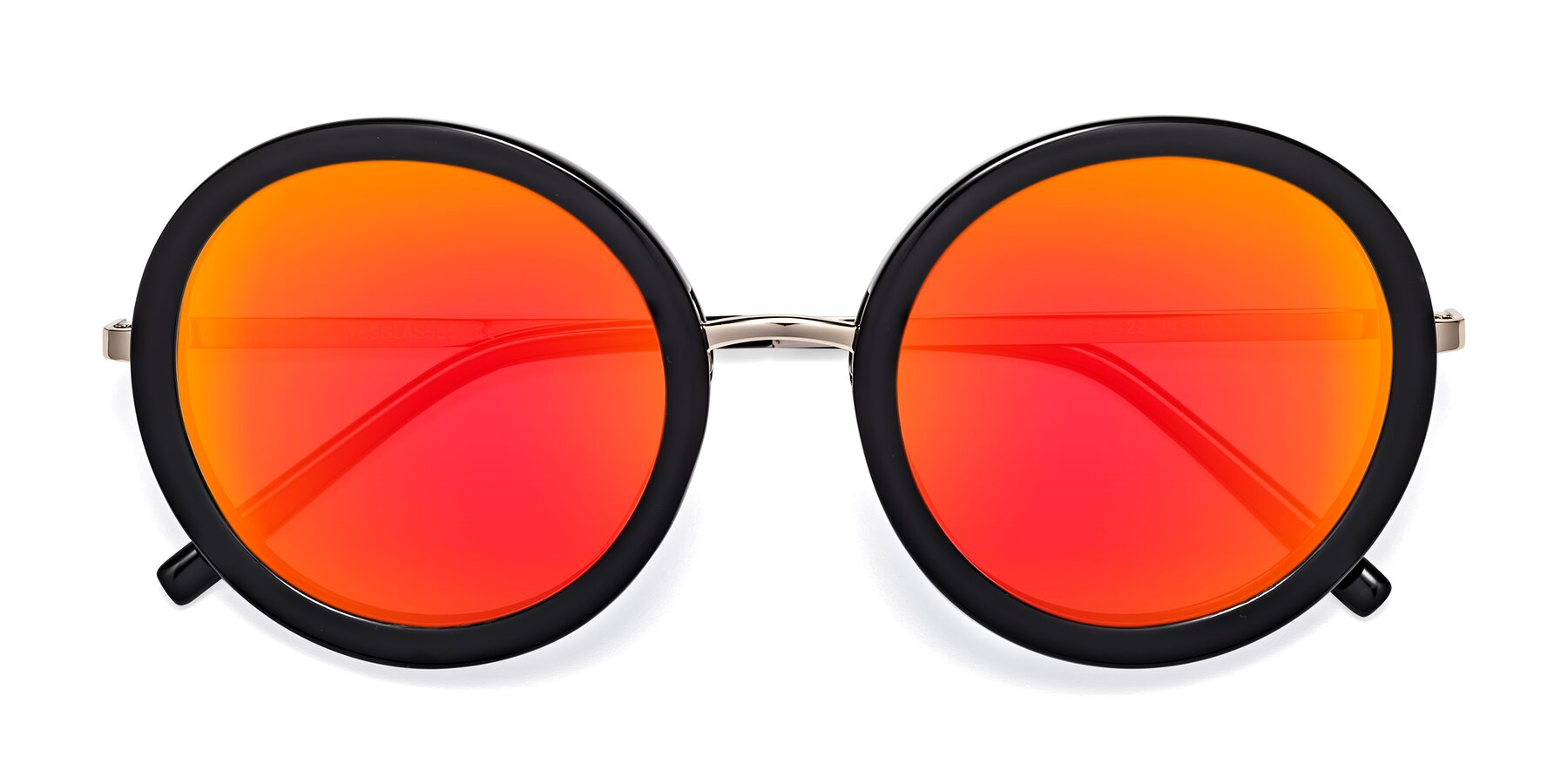 Folded Front of Bloom in Black with Red Gold Mirrored Lenses