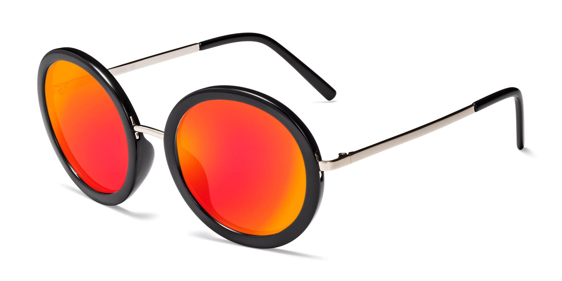 Angle of Bloom in Black with Red Gold Mirrored Lenses
