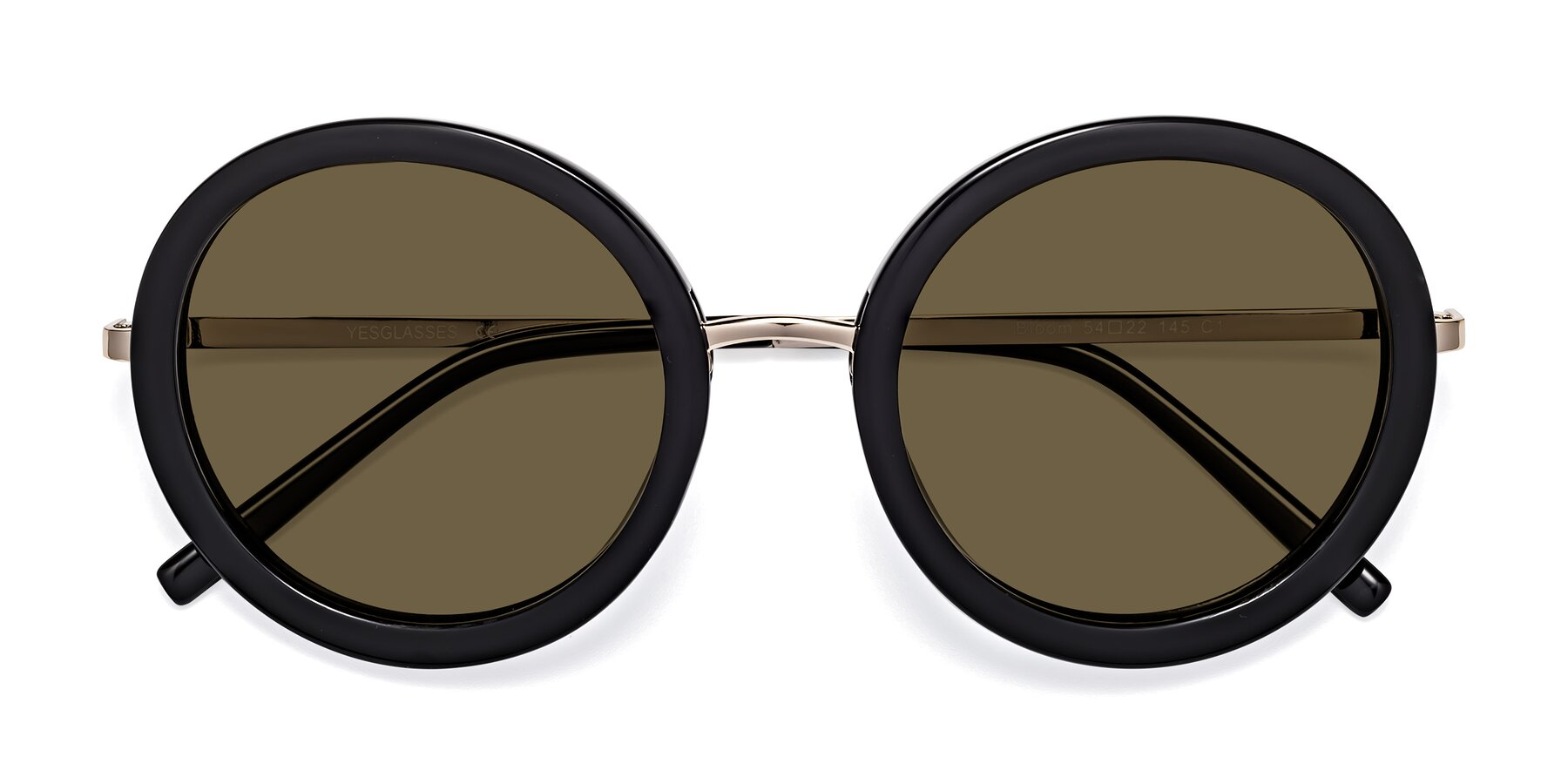 Folded Front of Bloom in Black with Brown Polarized Lenses