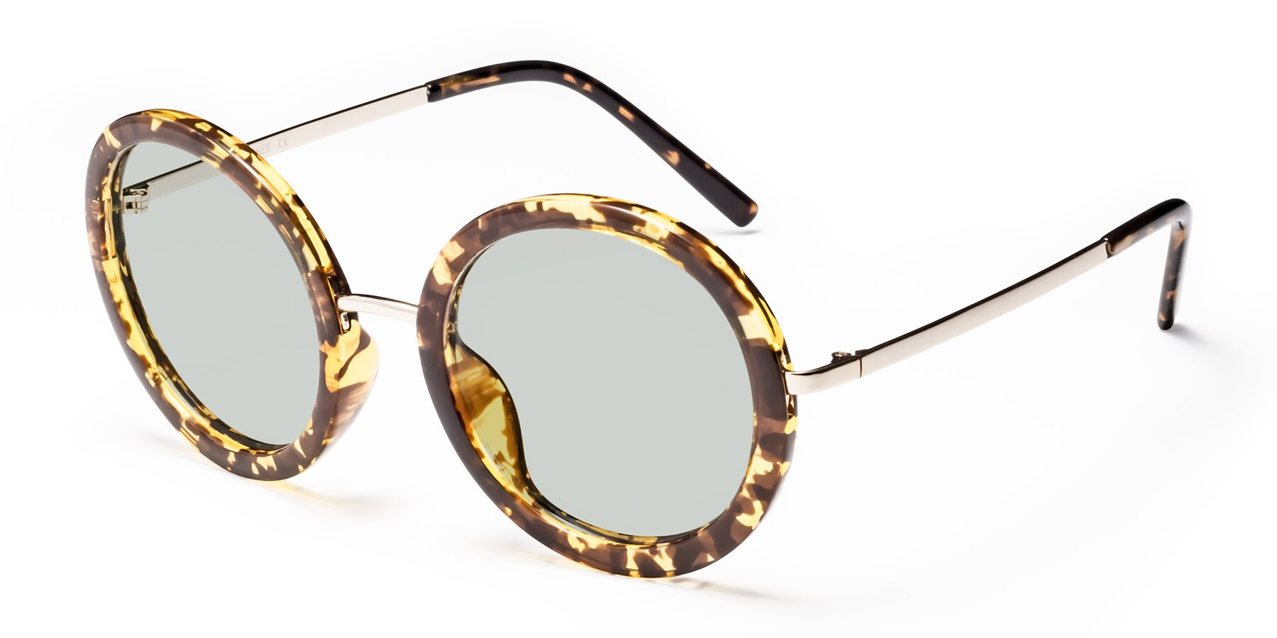 Angle of Bloom in Transparent Tortoise with Light Green Tinted Lenses