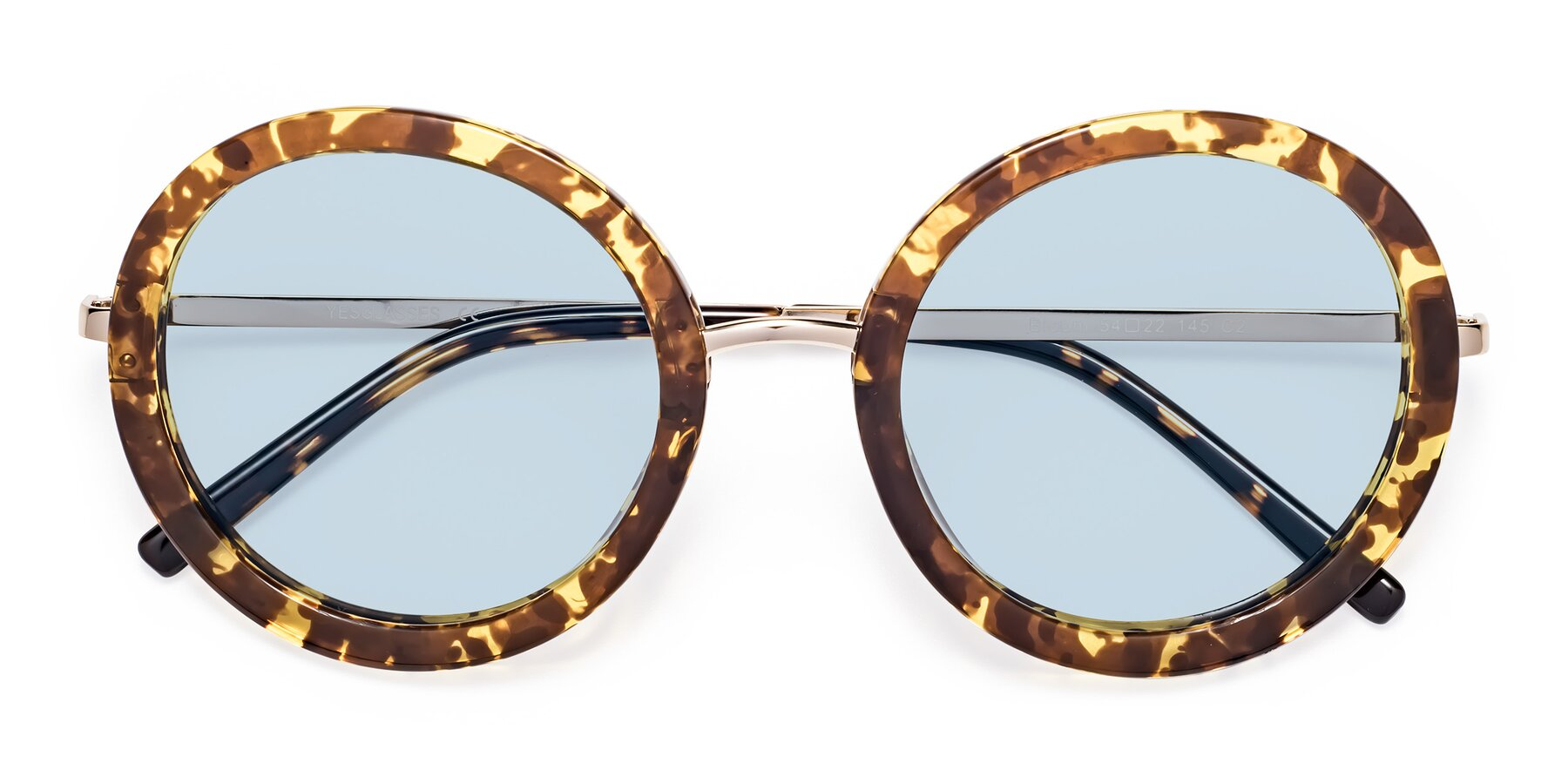 Folded Front of Bloom in Transparent Tortoise with Light Blue Tinted Lenses