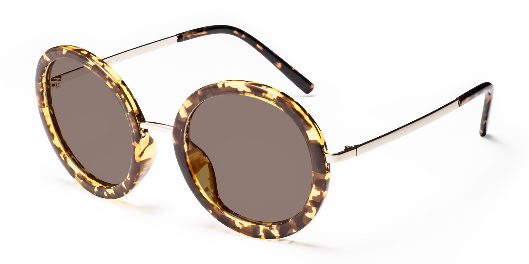 Angle of Bloom in Transparent Tortoise with Medium Brown Tinted Lenses