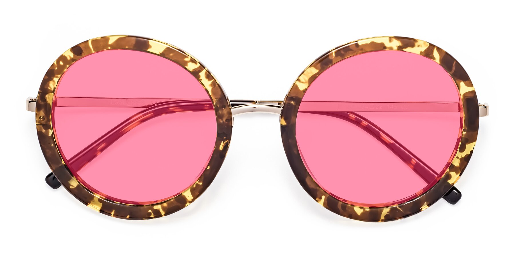 Folded Front of Bloom in Transparent Tortoise with Pink Tinted Lenses
