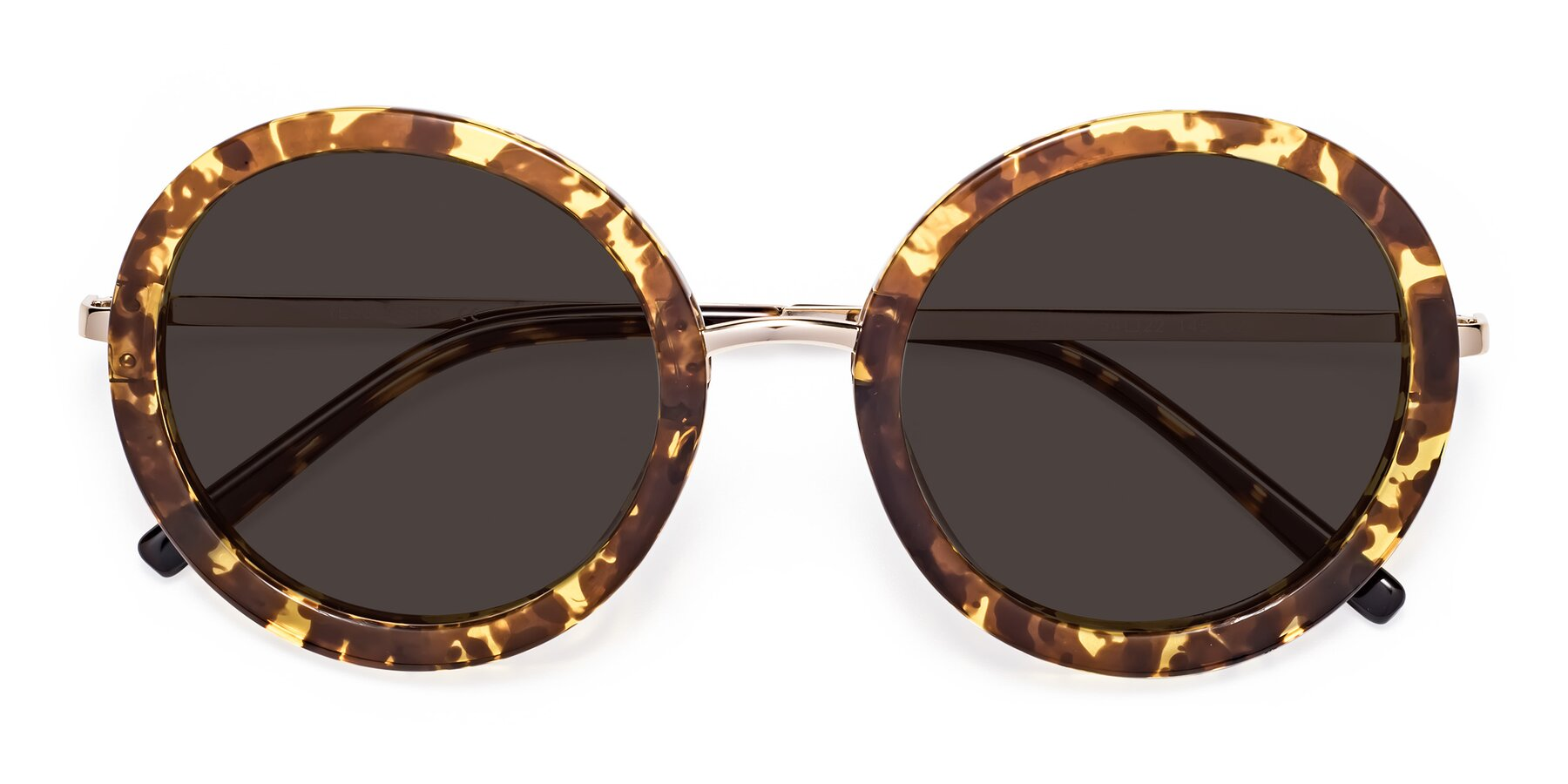 Folded Front of Bloom in Transparent Tortoise with Gray Tinted Lenses