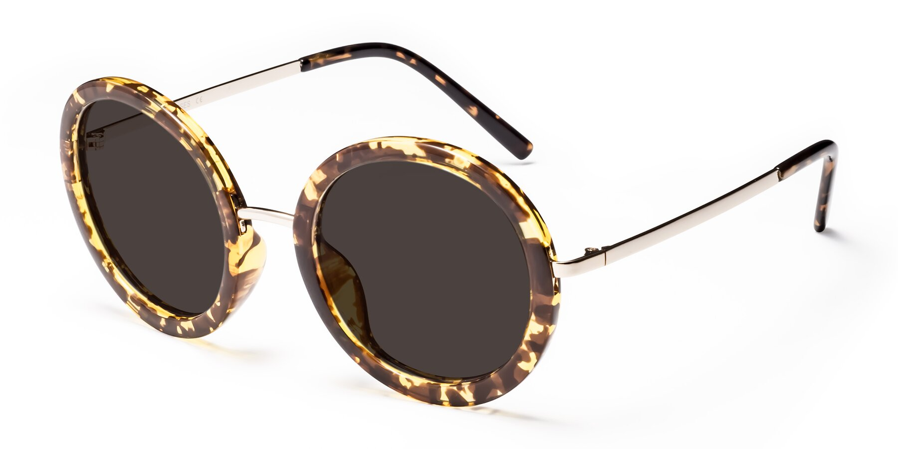 Angle of Bloom in Transparent Tortoise with Gray Tinted Lenses