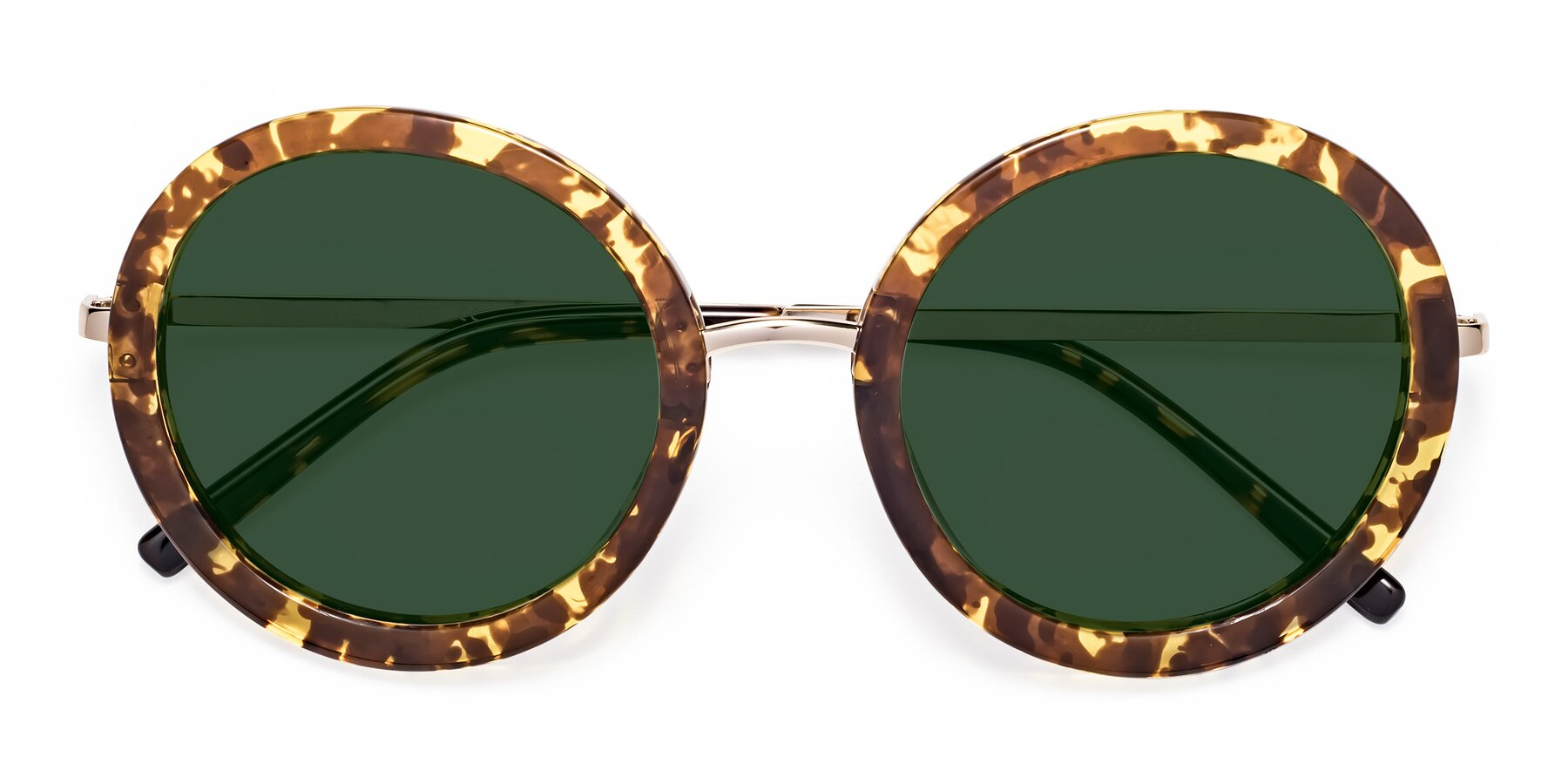 Folded Front of Bloom in Transparent Tortoise with Green Tinted Lenses