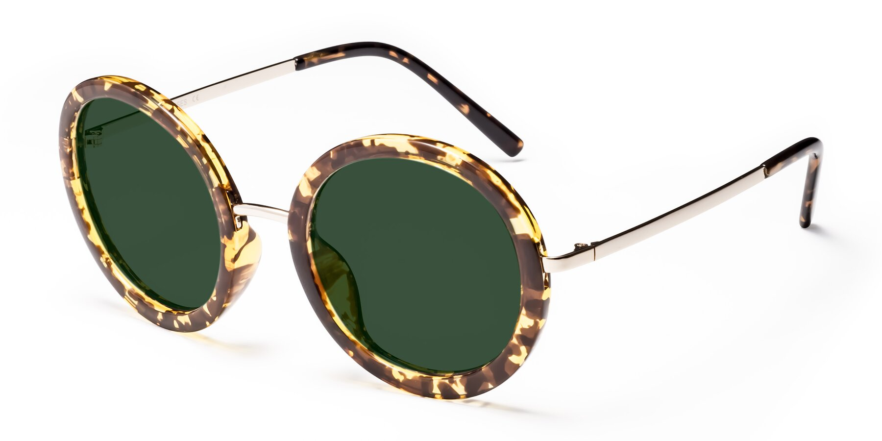 Angle of Bloom in Transparent Tortoise with Green Tinted Lenses
