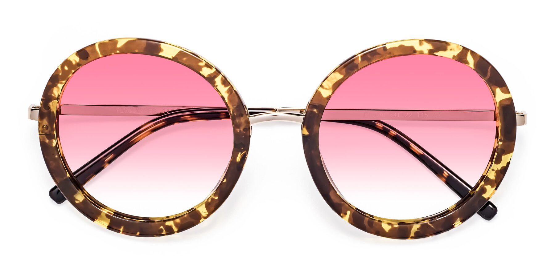 Folded Front of Bloom in Transparent Tortoise with Pink Gradient Lenses