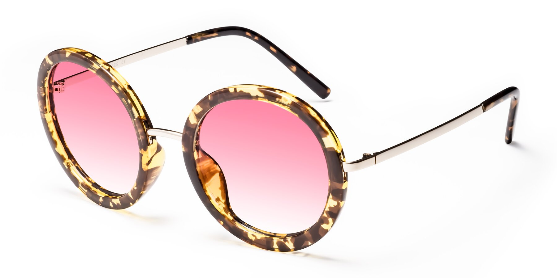 Angle of Bloom in Transparent Tortoise with Pink Gradient Lenses