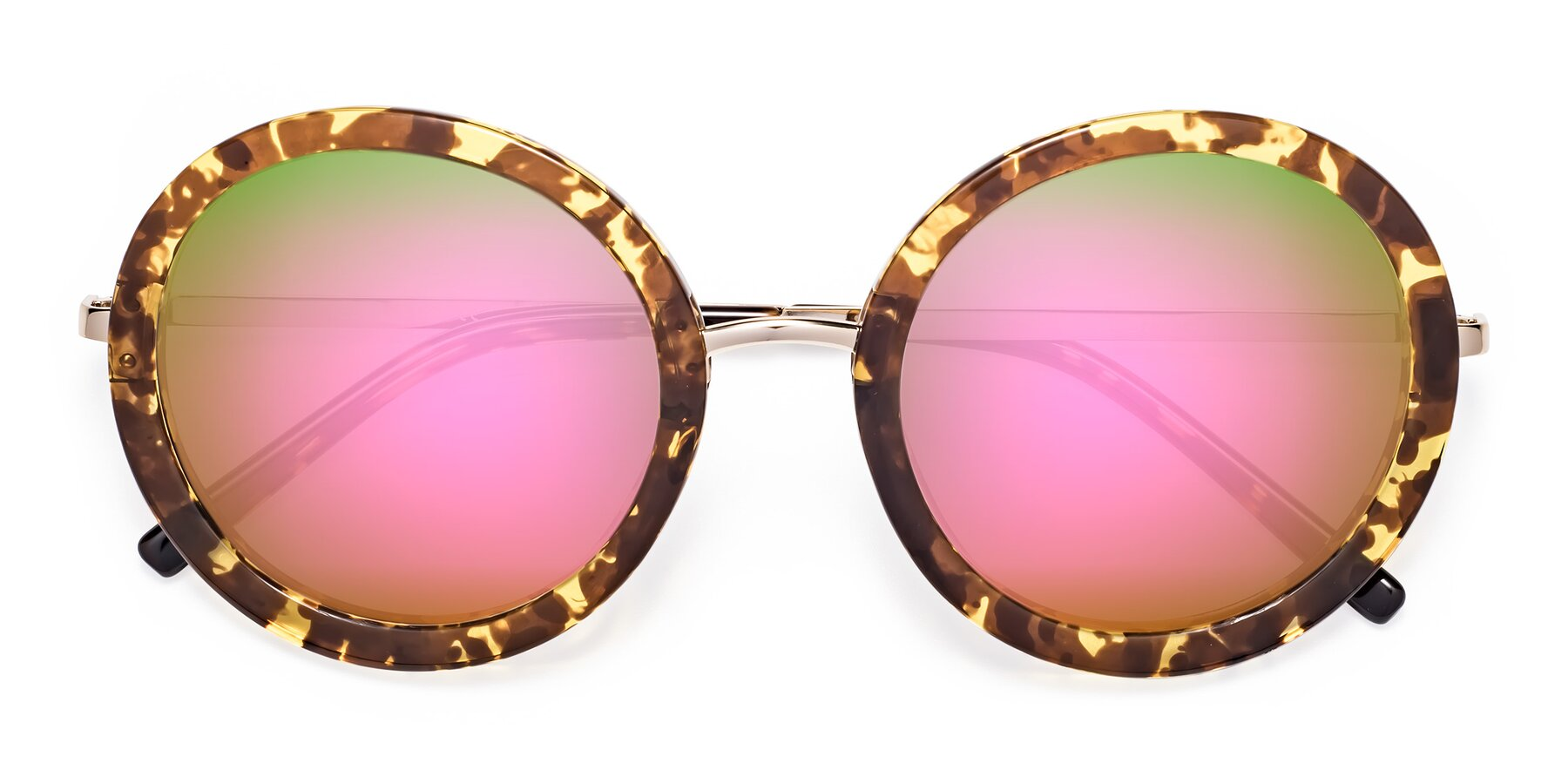 Folded Front of Bloom in Transparent Tortoise with Pink Mirrored Lenses