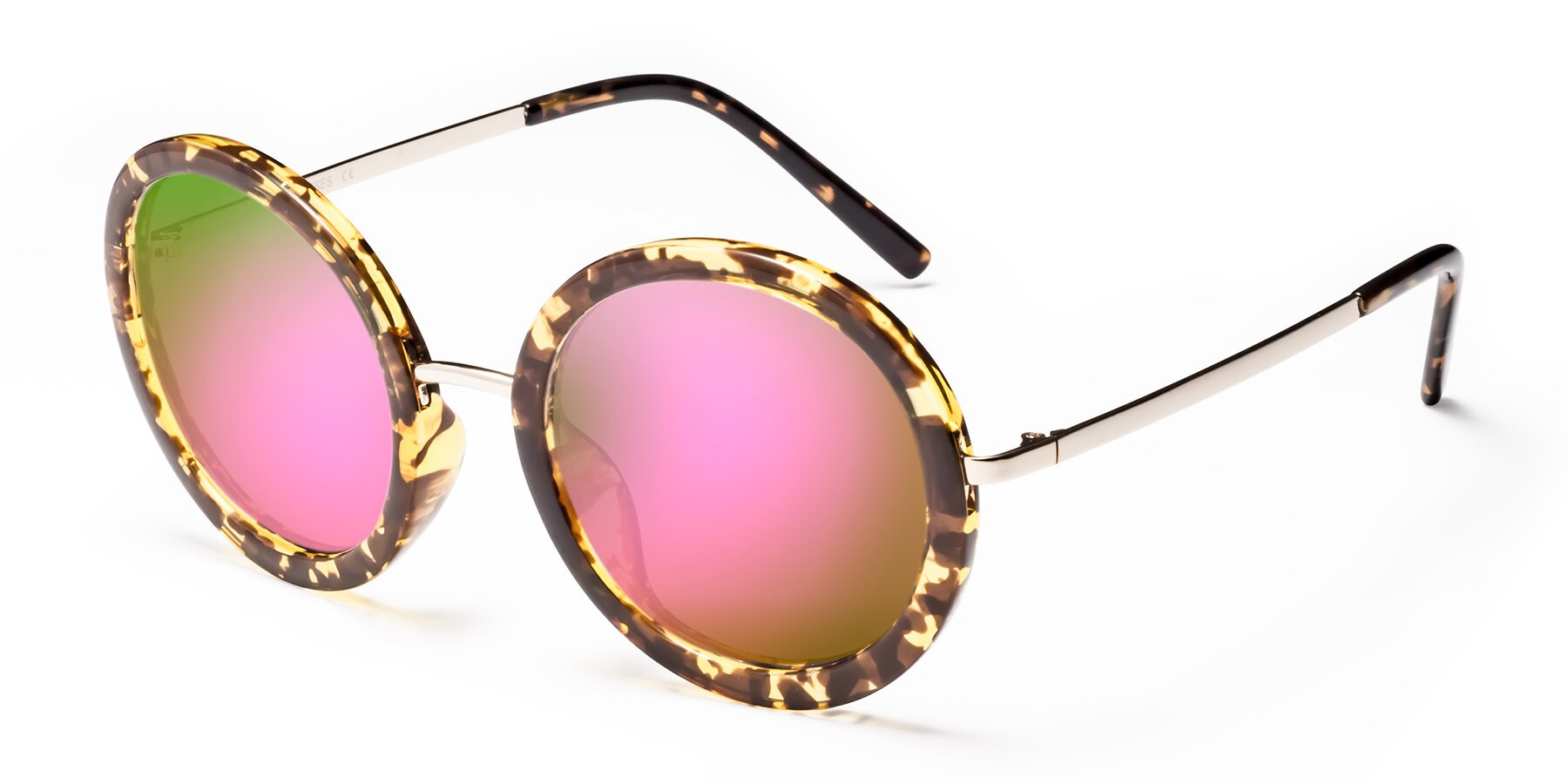 Angle of Bloom in Transparent Tortoise with Pink Mirrored Lenses