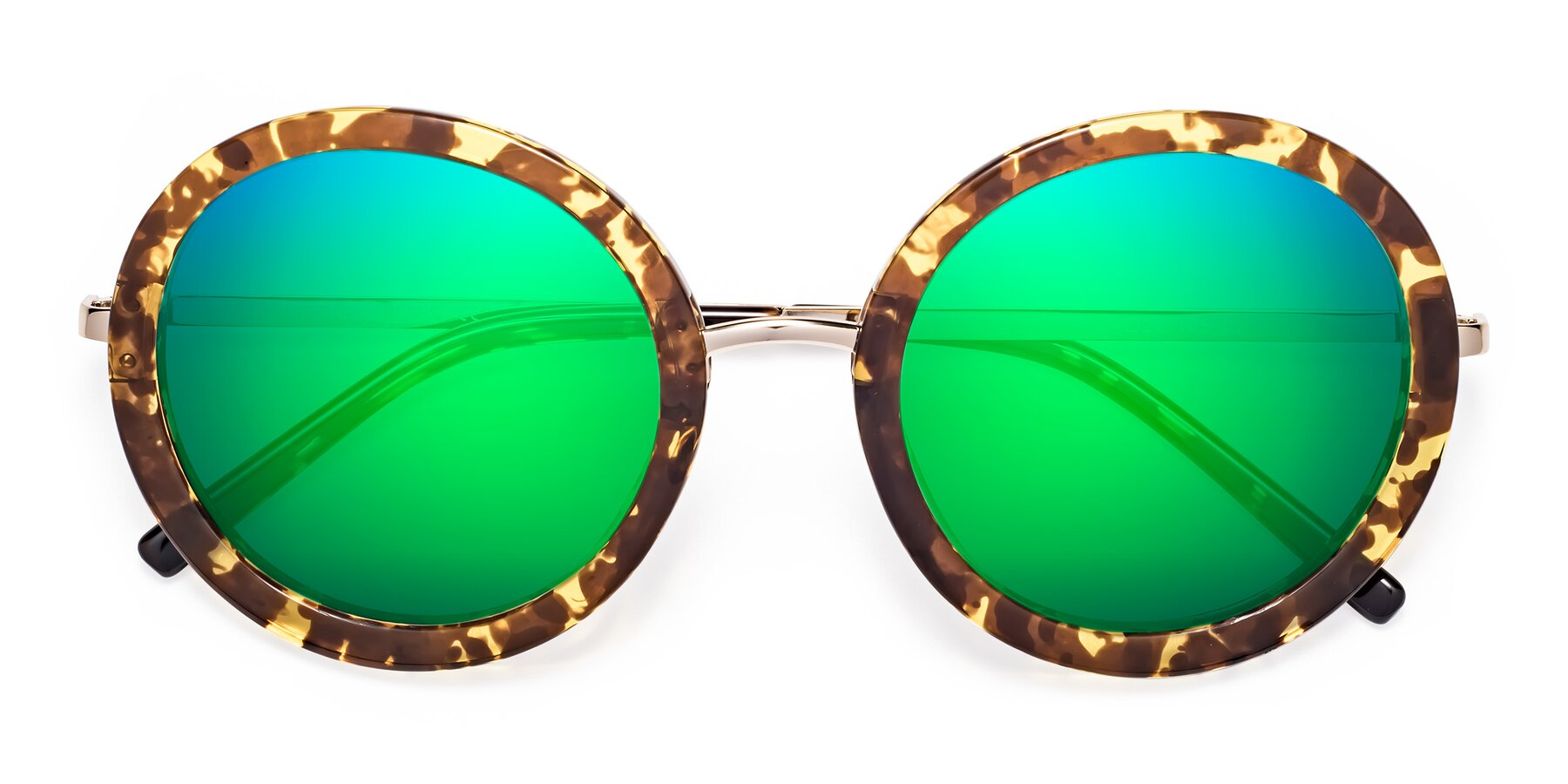 Folded Front of Bloom in Transparent Tortoise with Green Mirrored Lenses