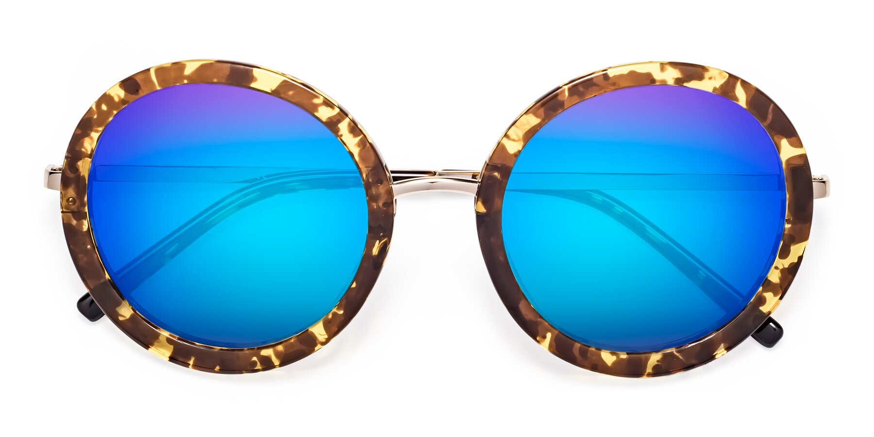 Folded Front of Bloom in Transparent Tortoise with Blue Mirrored Lenses
