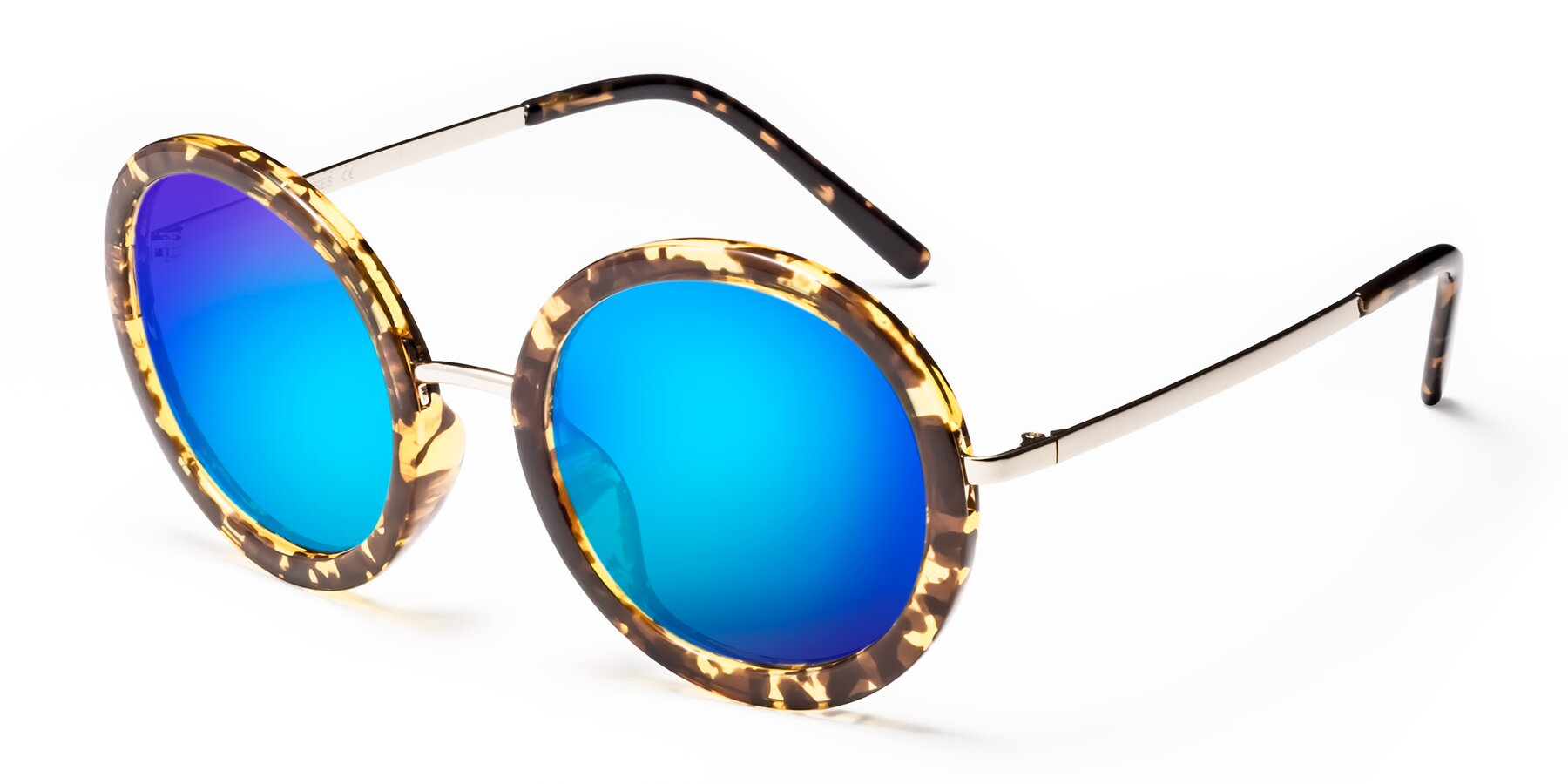 Angle of Bloom in Transparent Tortoise with Blue Mirrored Lenses