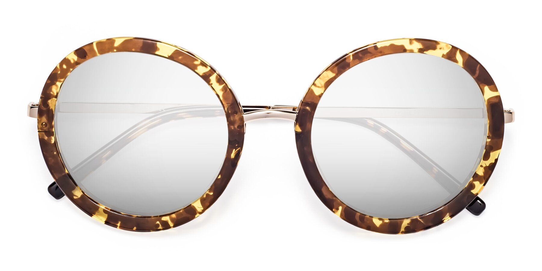 Folded Front of Bloom in Transparent Tortoise with Silver Mirrored Lenses