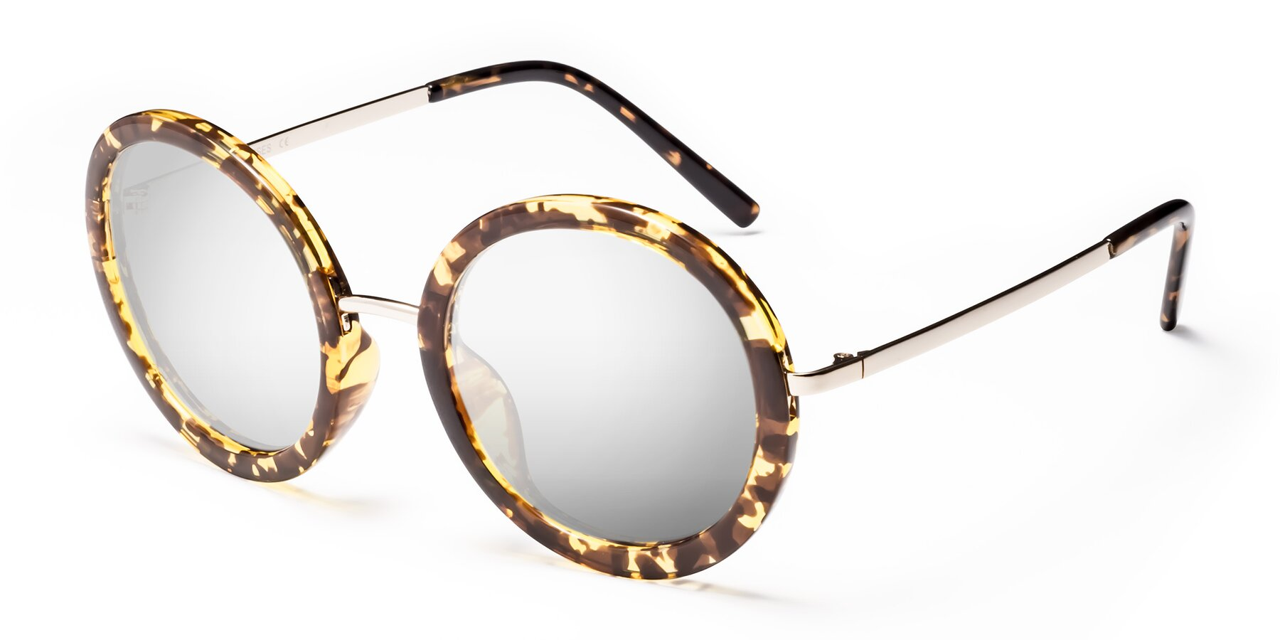 Angle of Bloom in Transparent Tortoise with Silver Mirrored Lenses