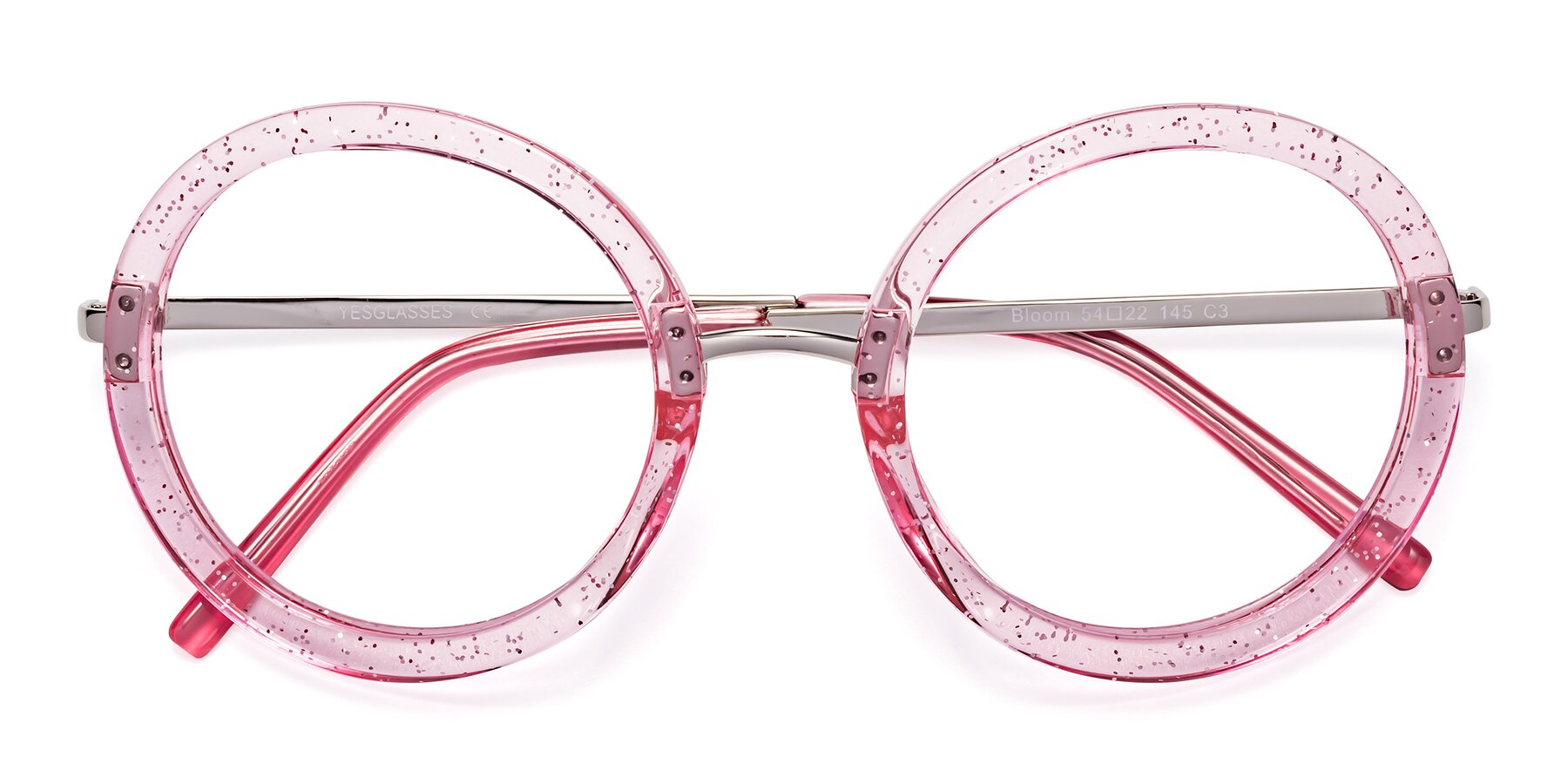 Folded Front of Bloom in Transparent Pearl Pink with Clear Eyeglass Lenses
