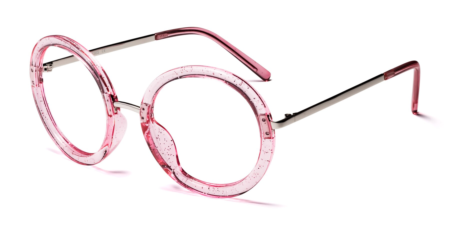 Angle of Bloom in Transparent Pearl Pink with Clear Eyeglass Lenses