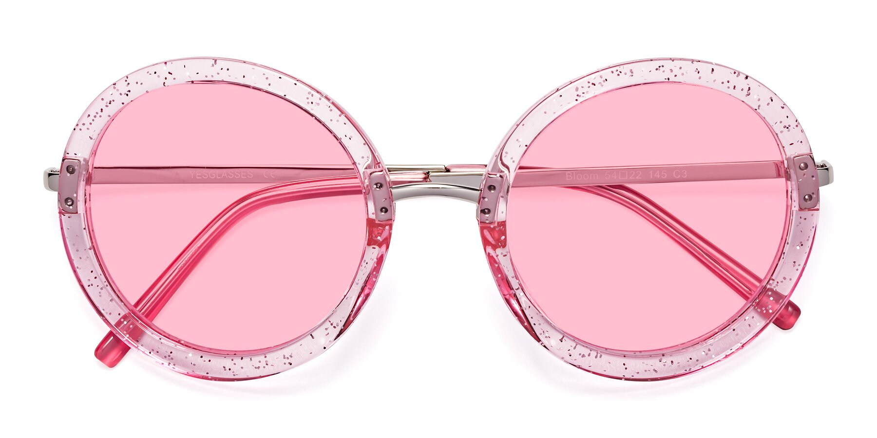 Folded Front of Bloom in Transparent Pearl Pink with Medium Pink Tinted Lenses