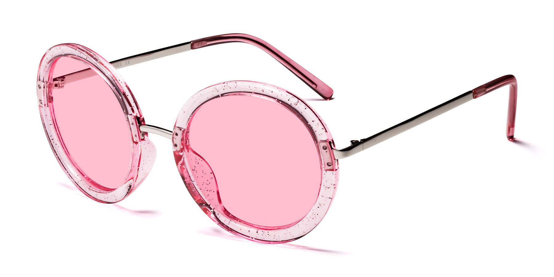 Angle of Bloom in Transparent Pearl Pink with Medium Pink Tinted Lenses