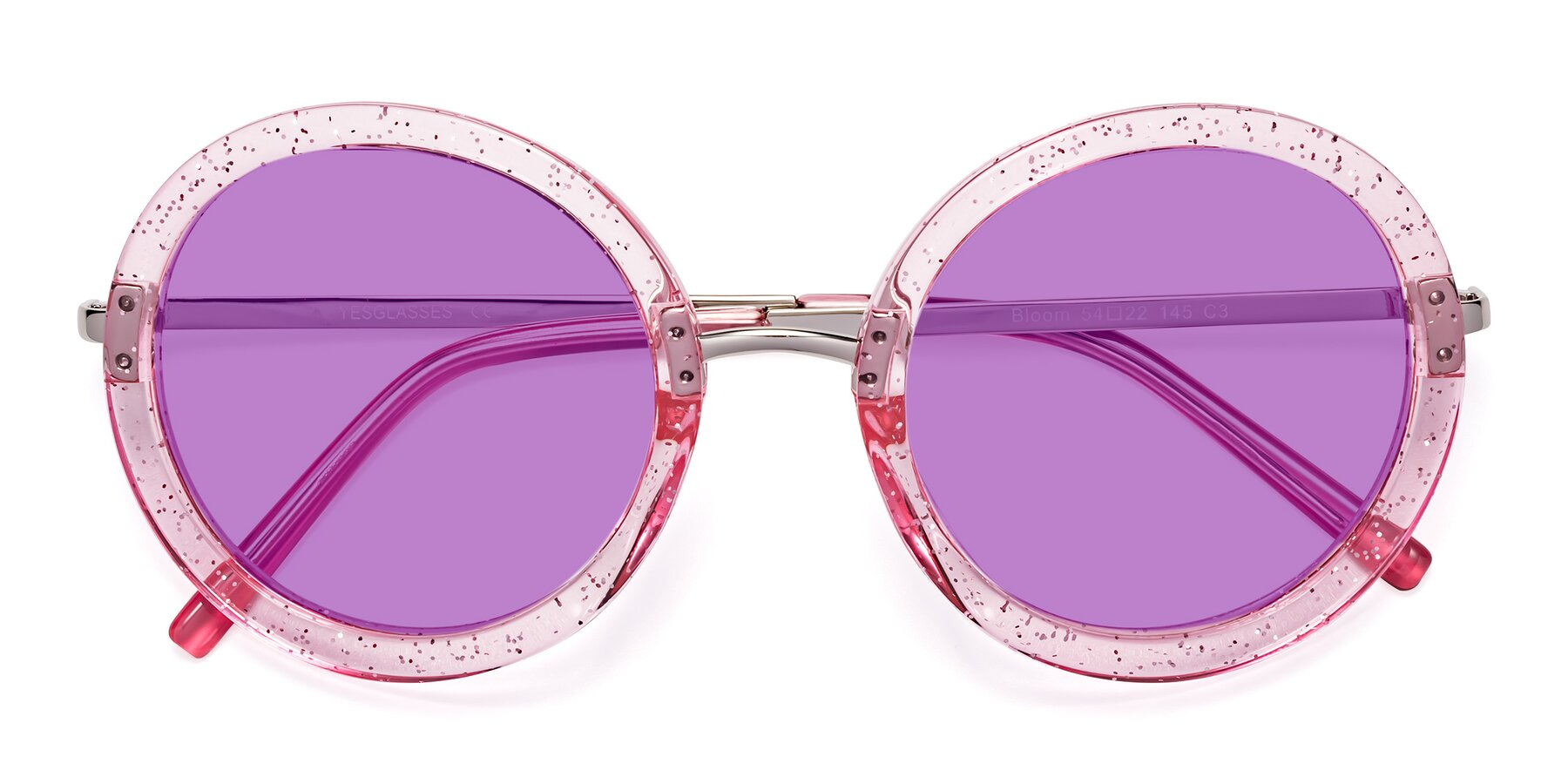Folded Front of Bloom in Transparent Pearl Pink with Medium Purple Tinted Lenses