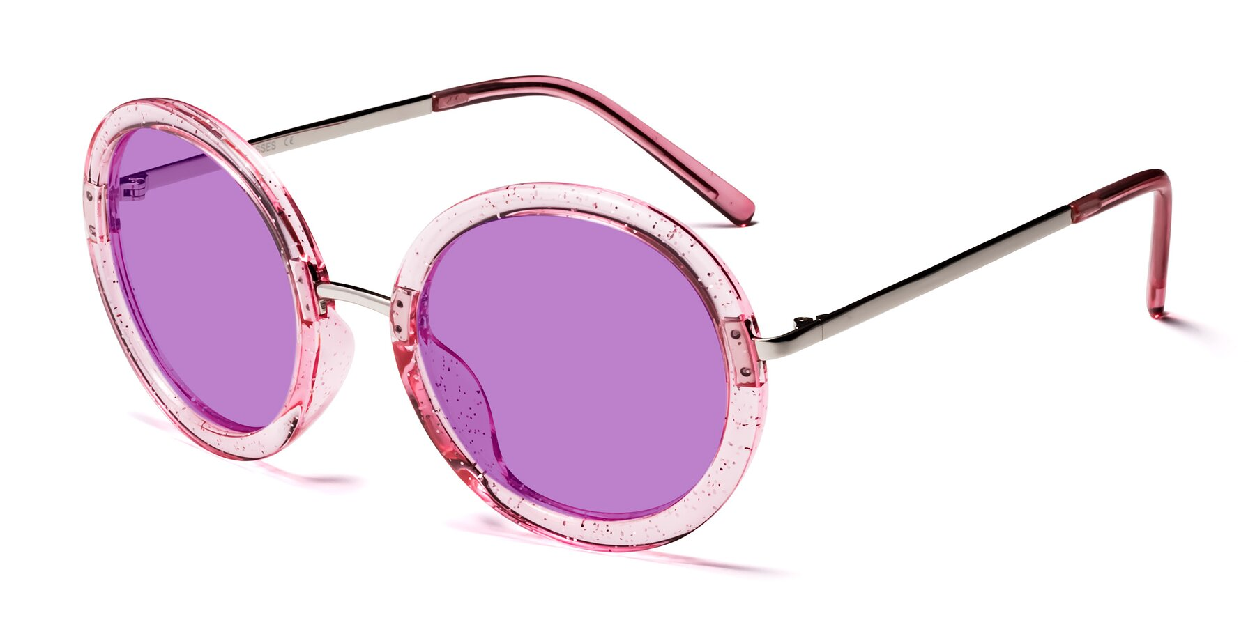 Angle of Bloom in Transparent Pearl Pink with Medium Purple Tinted Lenses
