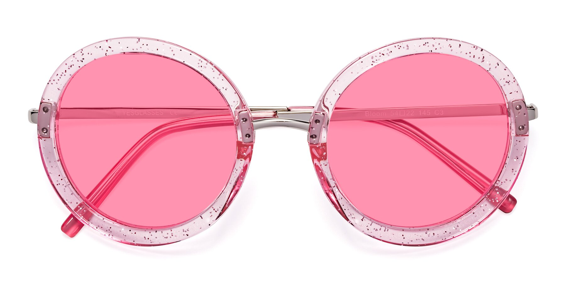Folded Front of Bloom in Transparent Pearl Pink with Pink Tinted Lenses
