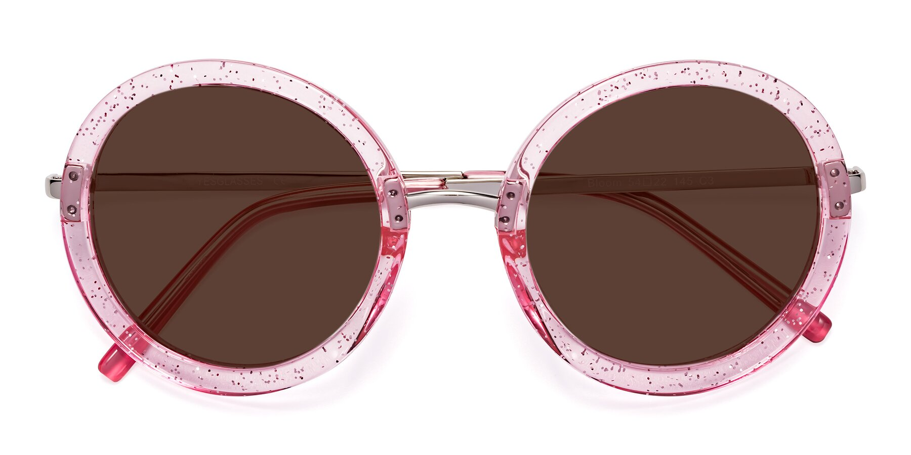 Folded Front of Bloom in Transparent Pearl Pink with Brown Tinted Lenses