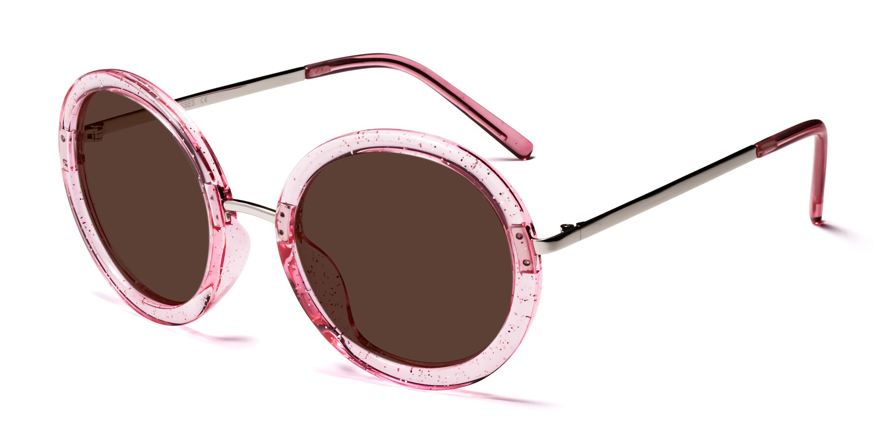 Angle of Bloom in Transparent Pearl Pink with Brown Tinted Lenses