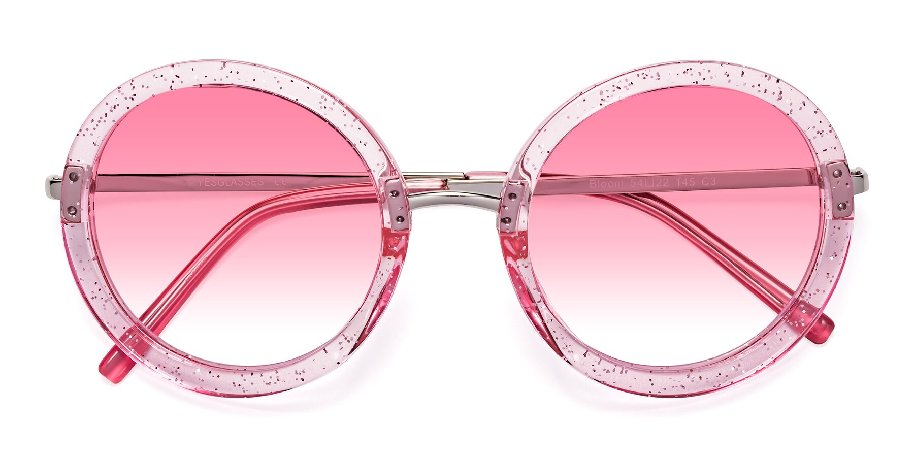 Folded Front of Bloom in Transparent Pearl Pink with Pink Gradient Lenses