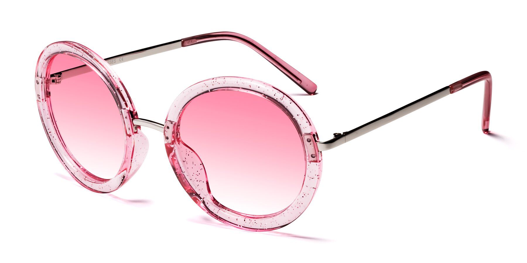 Angle of Bloom in Transparent Pearl Pink with Pink Gradient Lenses
