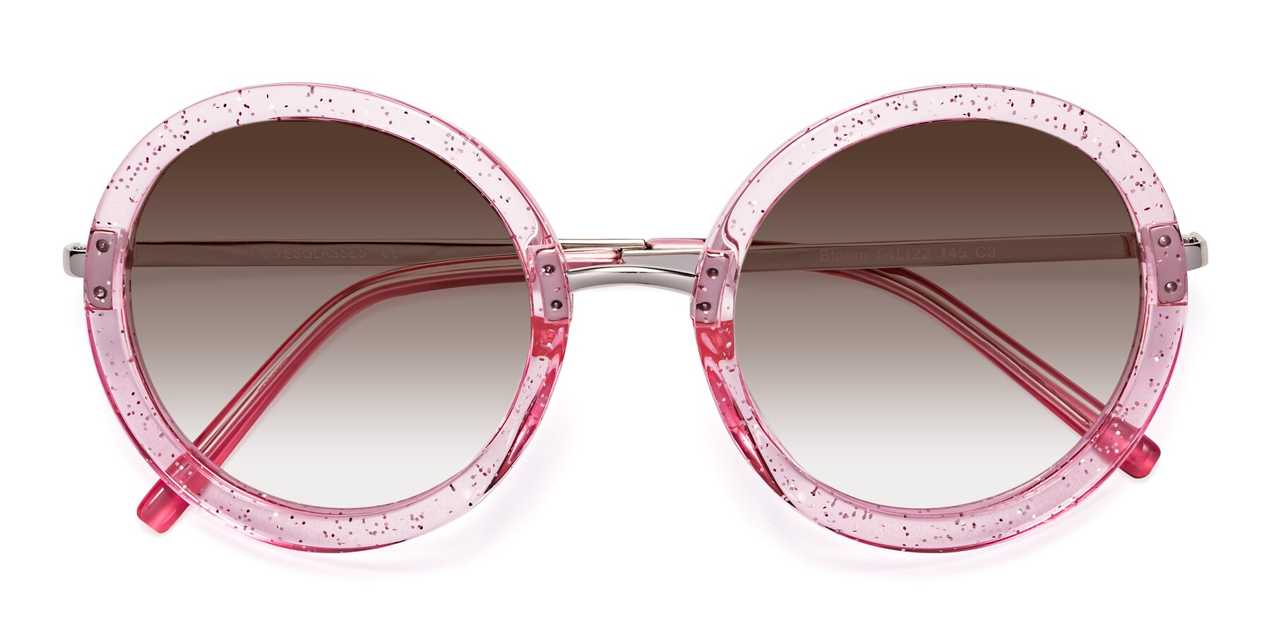 Folded Front of Bloom in Transparent Pearl Pink with Brown Gradient Lenses