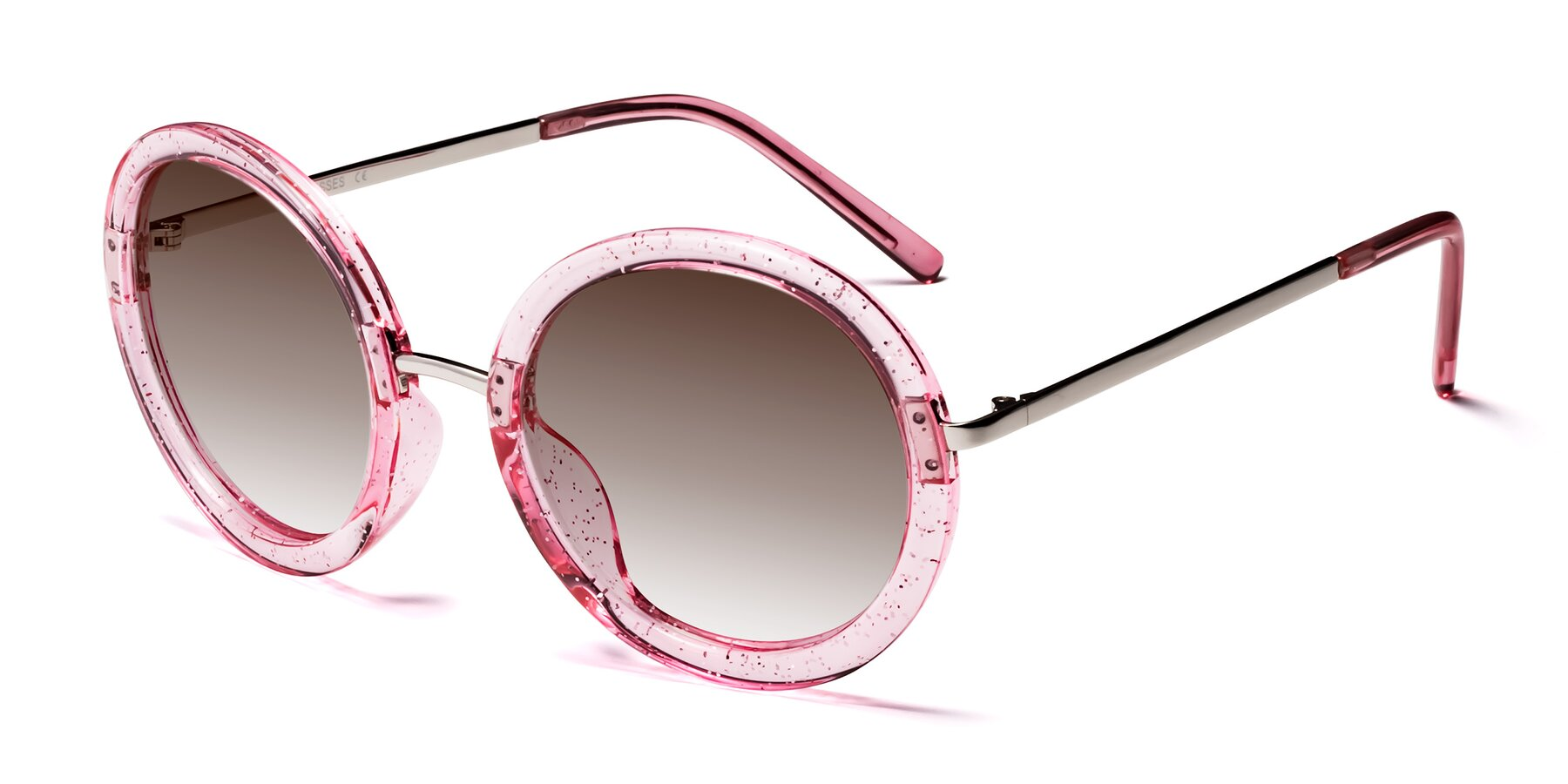 Angle of Bloom in Transparent Pearl Pink with Brown Gradient Lenses
