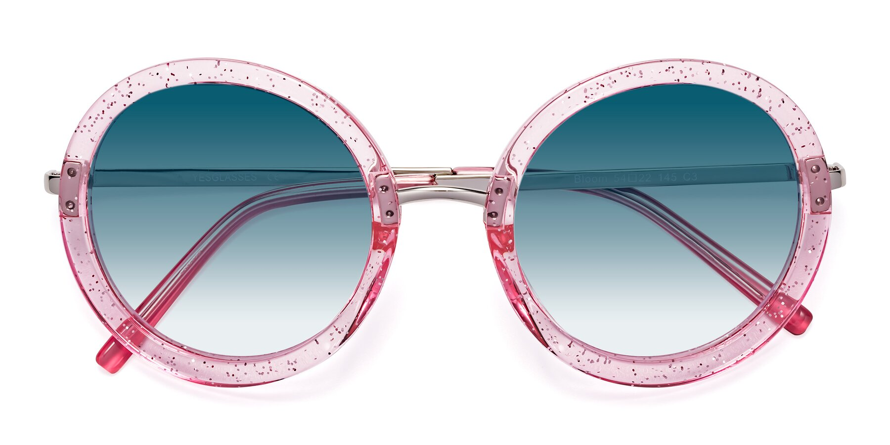 Folded Front of Bloom in Transparent Pearl Pink with Blue Gradient Lenses